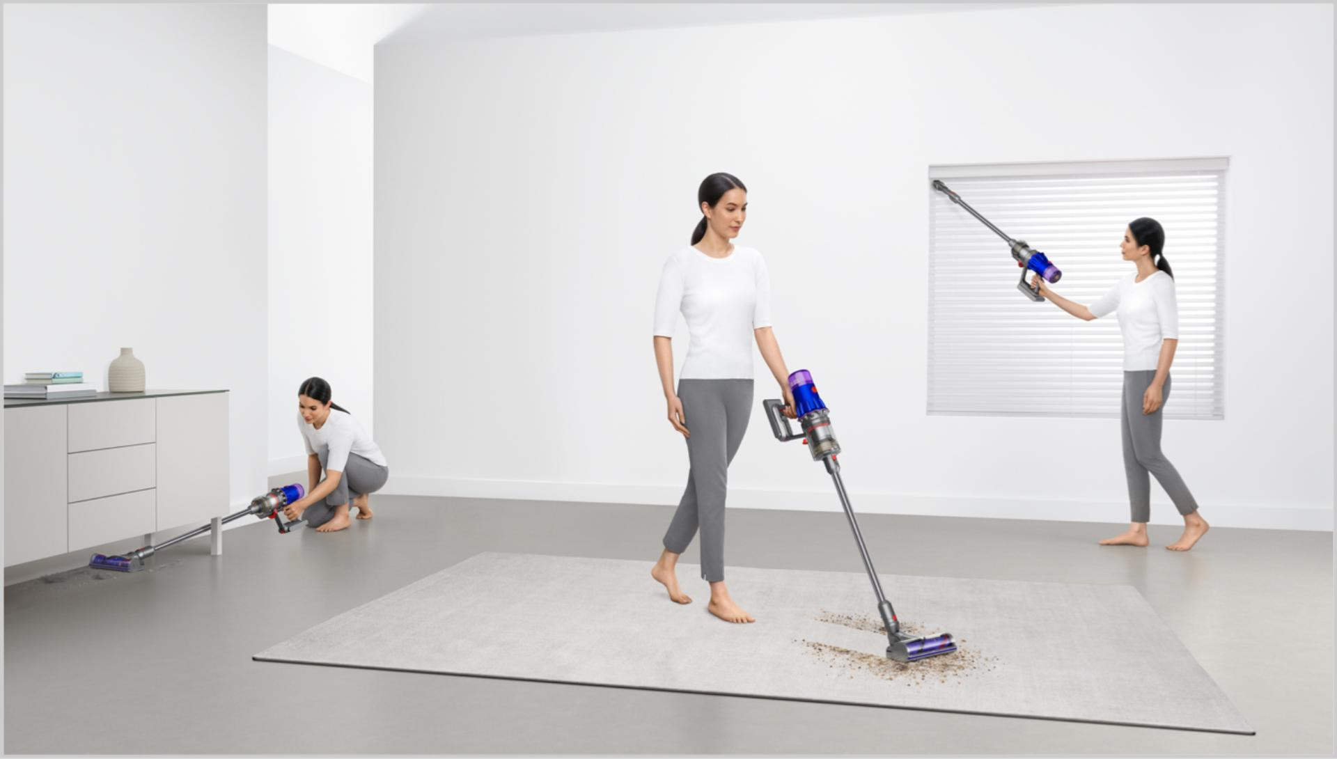 Woman cleaning in various places around the home