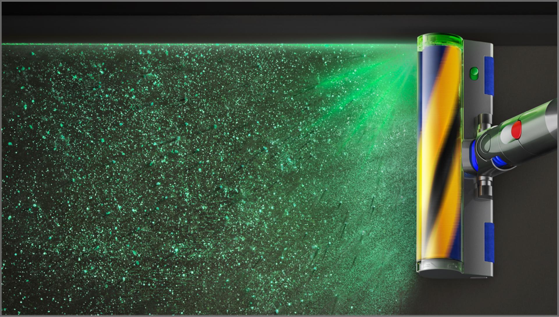 먼지를 보여주는 다이슨 레이저2 슬림 플러피 클리너 헤드