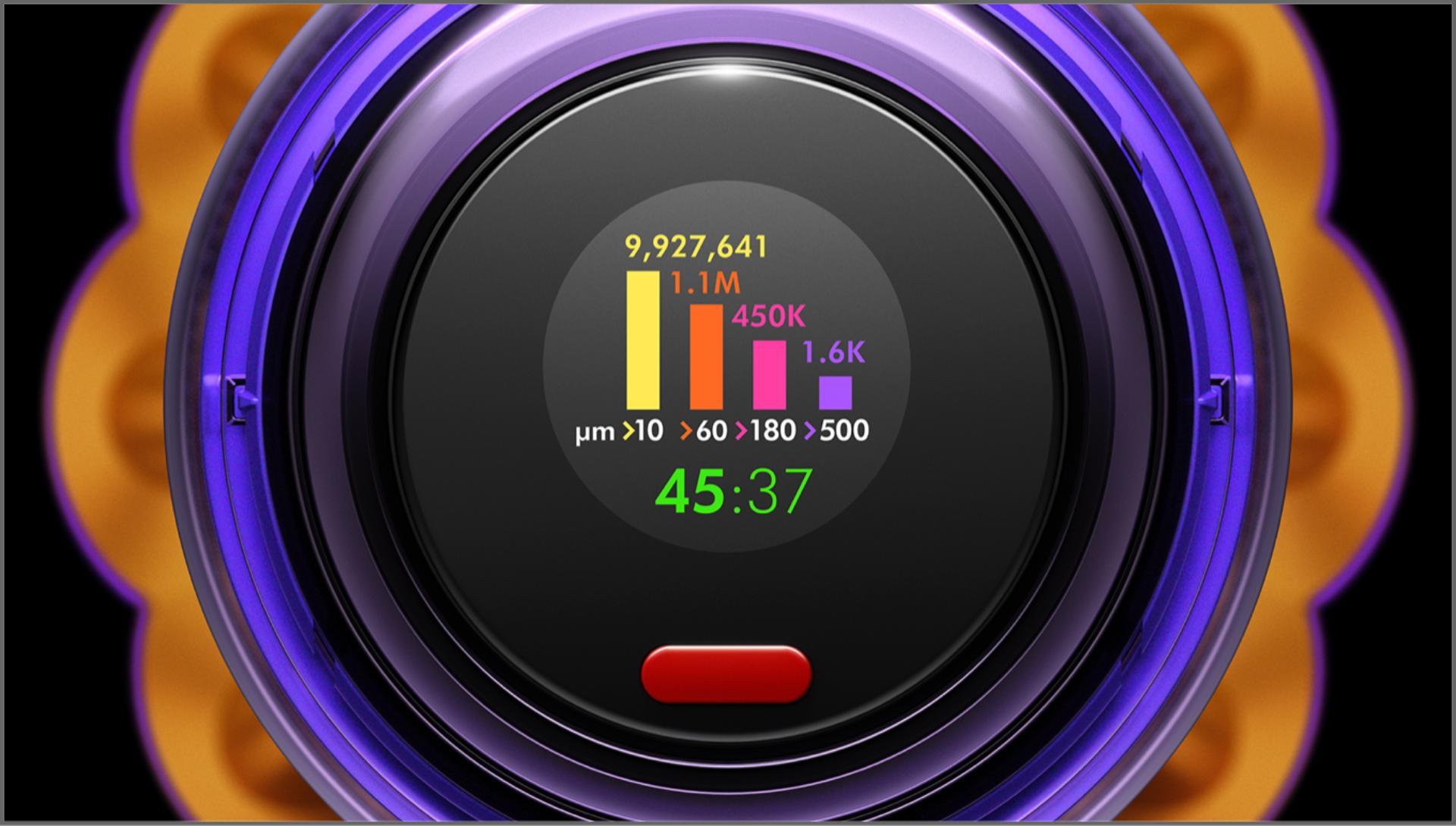 다양한 크기의 먼지 입자 양을 보여주는 LCD 스크린