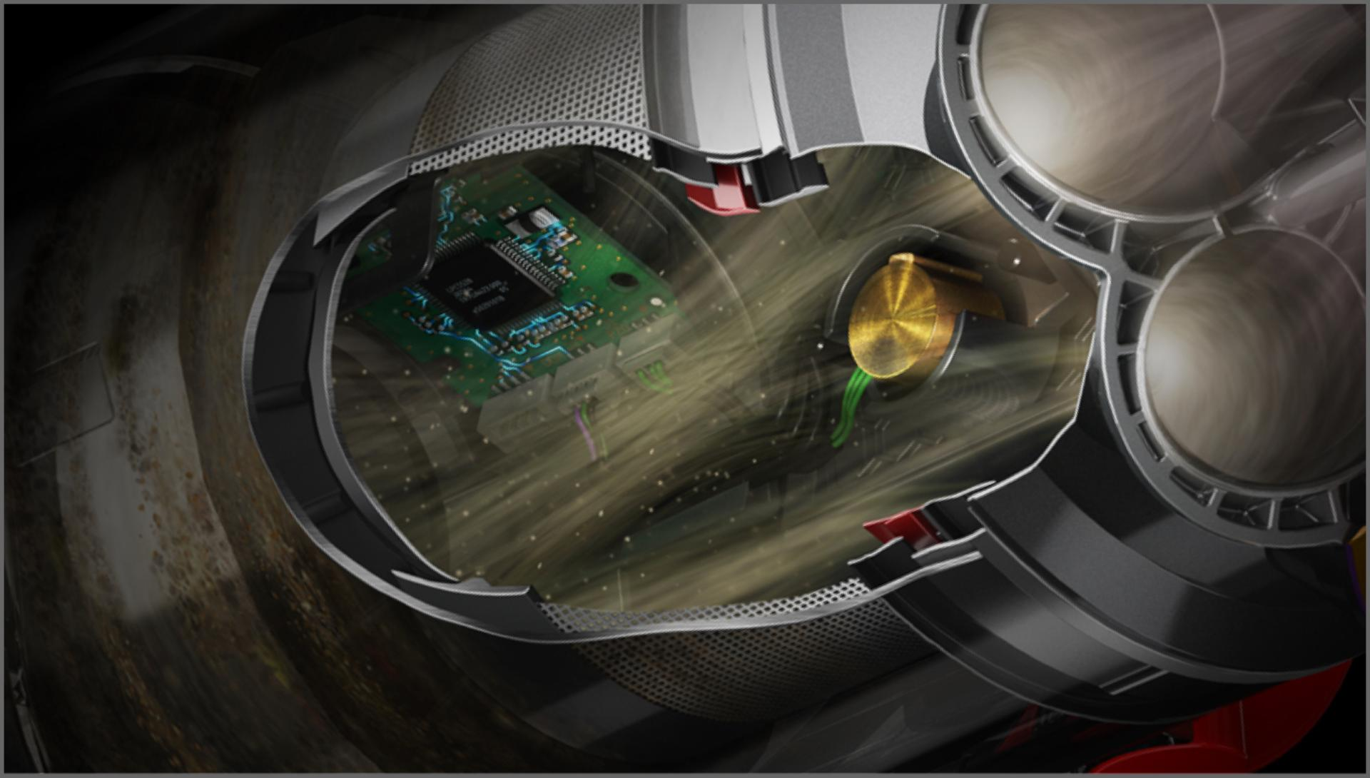 Cutaway of vacuum body showing location of piezo sensor