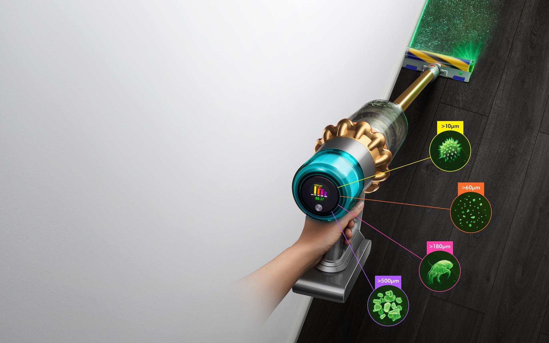 Aspiradora Dyson V15 Detect con cabezal limpiador Laser Slim Fluffy, que muestra los tamaños de polvo detectado