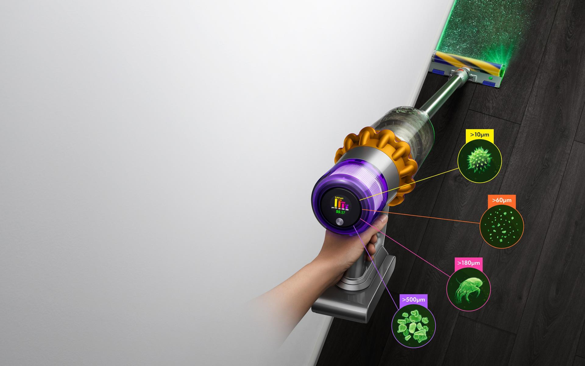 Dyson V15 Detect vacuum with Laser Slim Fluffy cleaner head, showing sizes of dust detected
