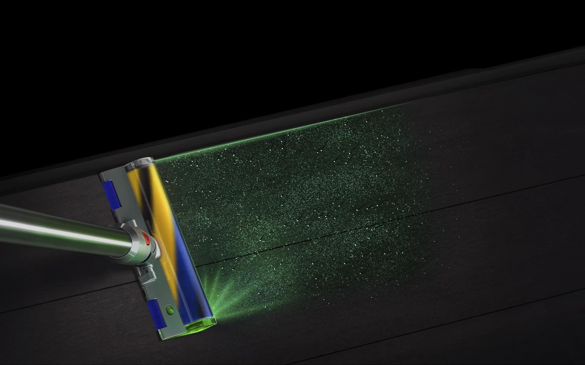 Laser detect technology cleaning along a wall