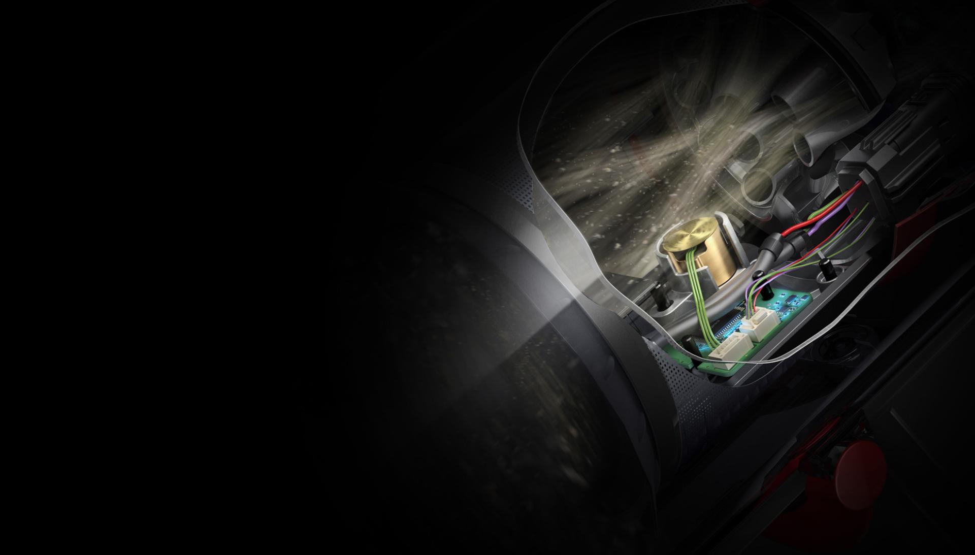 Piezo sensöründen seken mikroskobik partiküllerin yakından görünümü