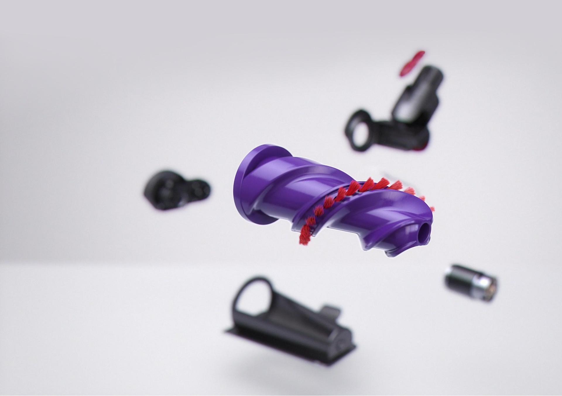 Close-up of Hair screw tool's threaded brush bar