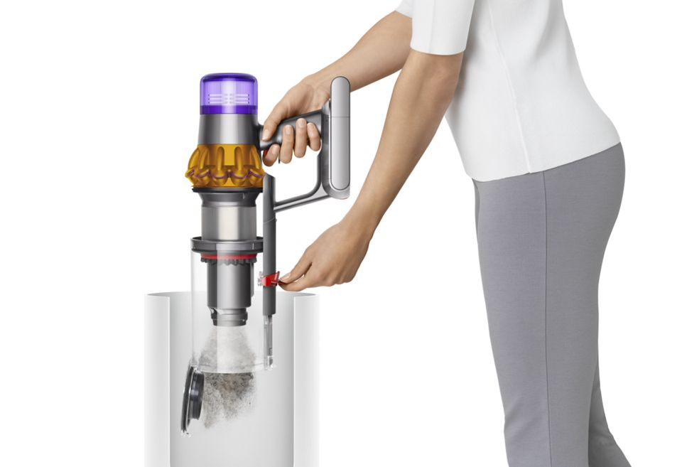 Emptying the bin on the Dyson V15 Detect vacuum