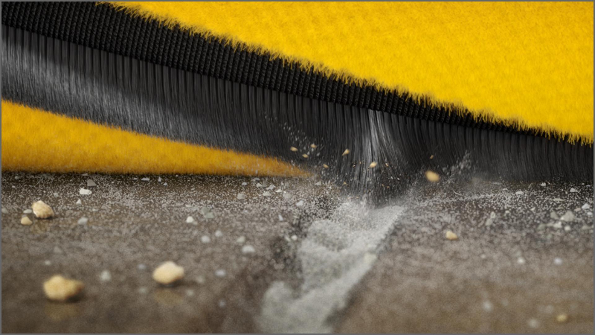 Close-up of carbon fibre brush bar filaments