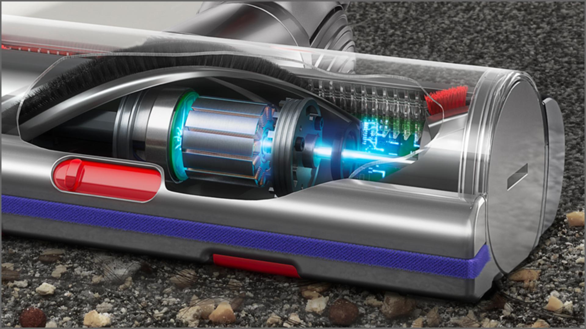 Cutaway of High Torque cleaner head with anti-tangle technology