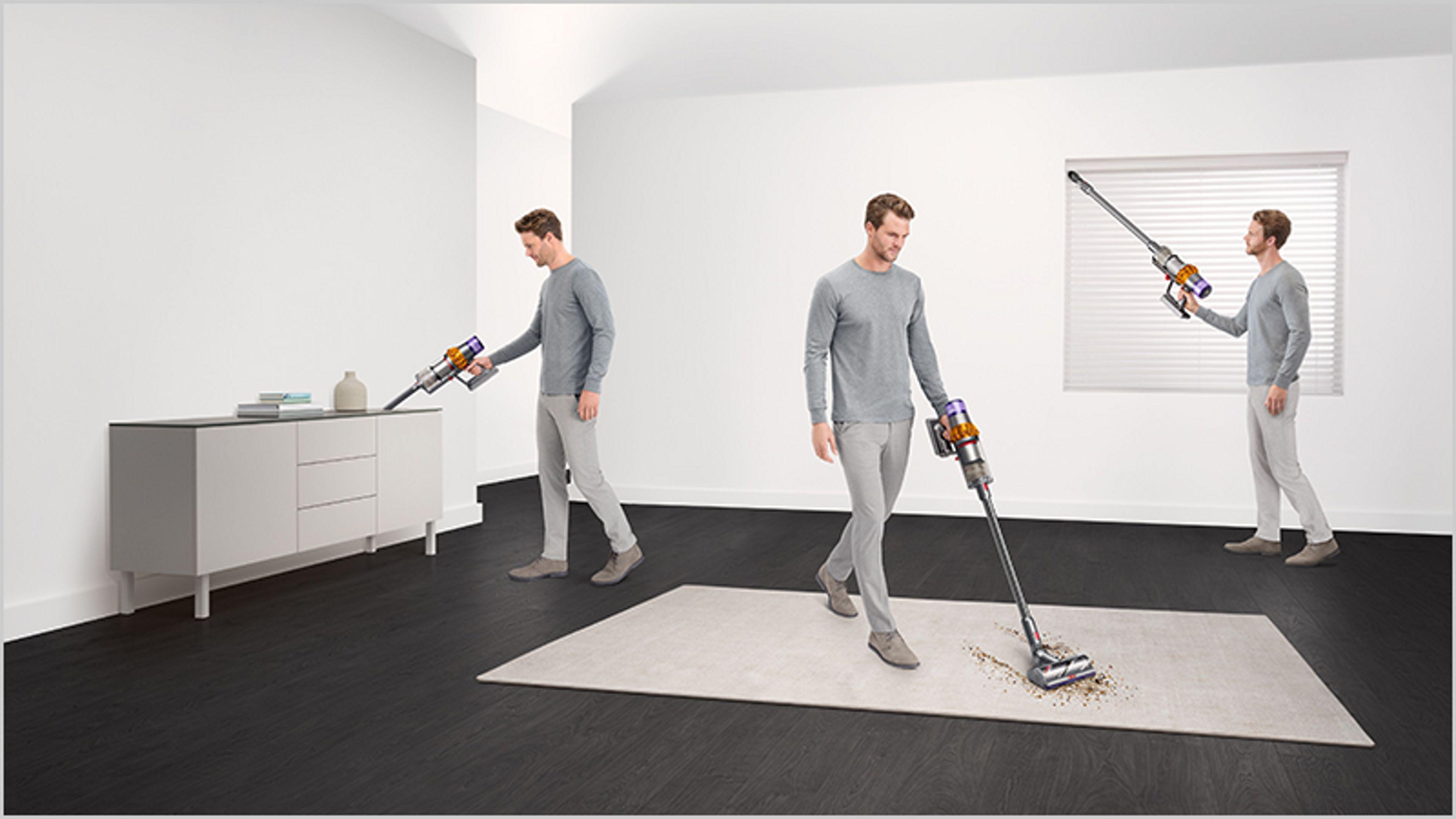 Mężczyzna sprząta różne miejscach w domu
