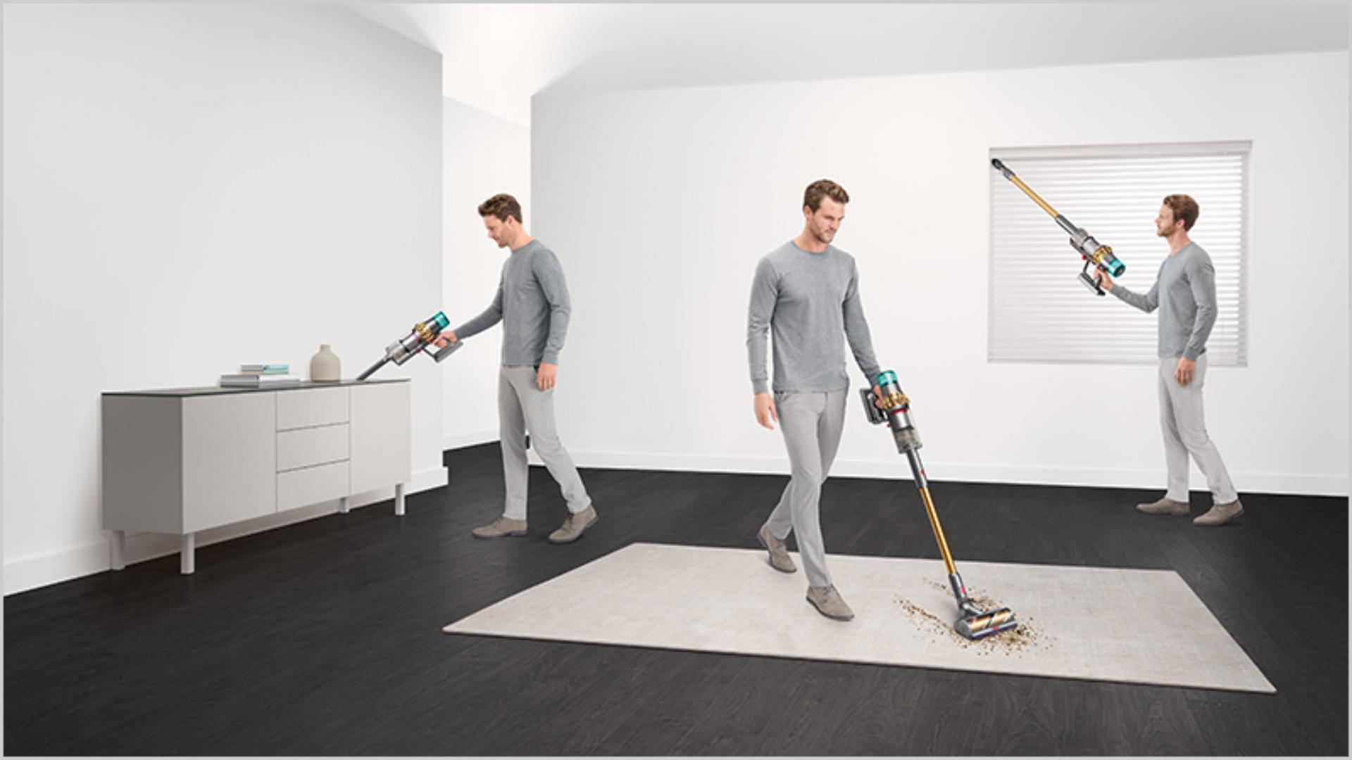 Man cleaning in various places around the home