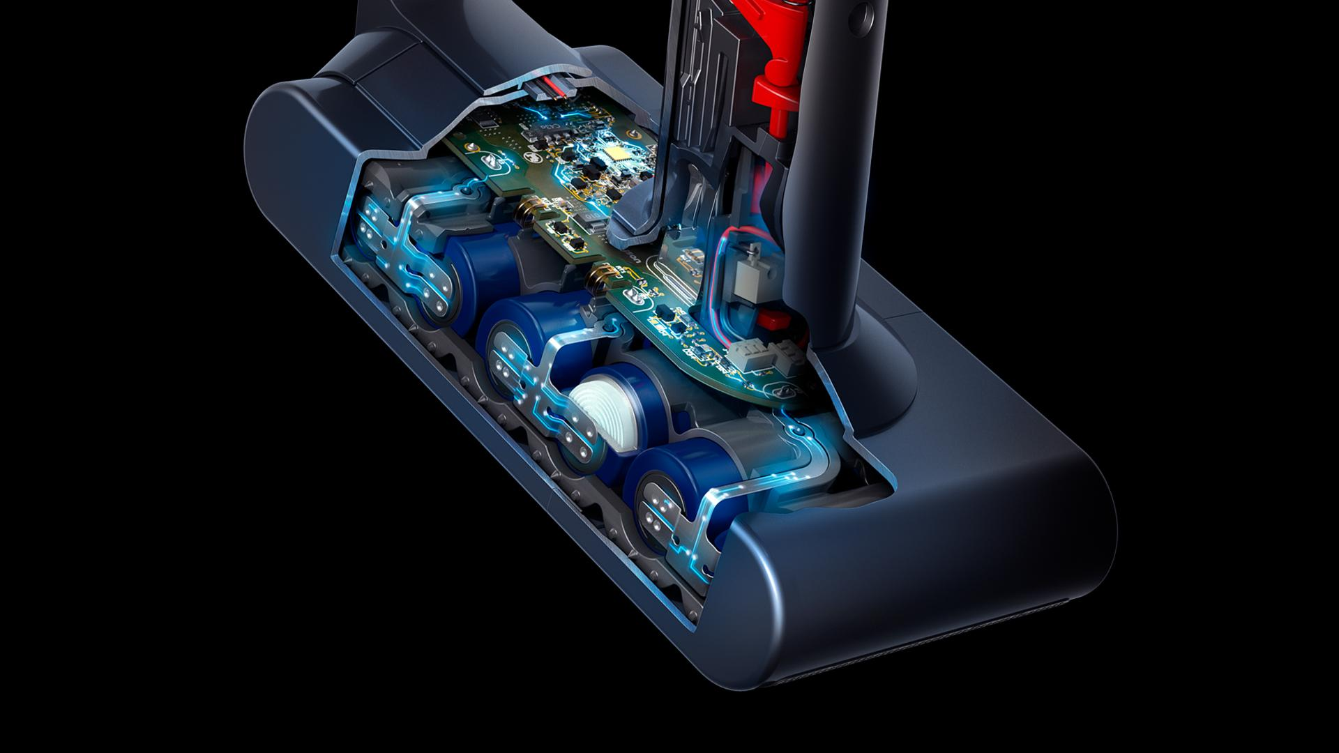 Cutaway diagram of Dyson cordless stick vacuum battery