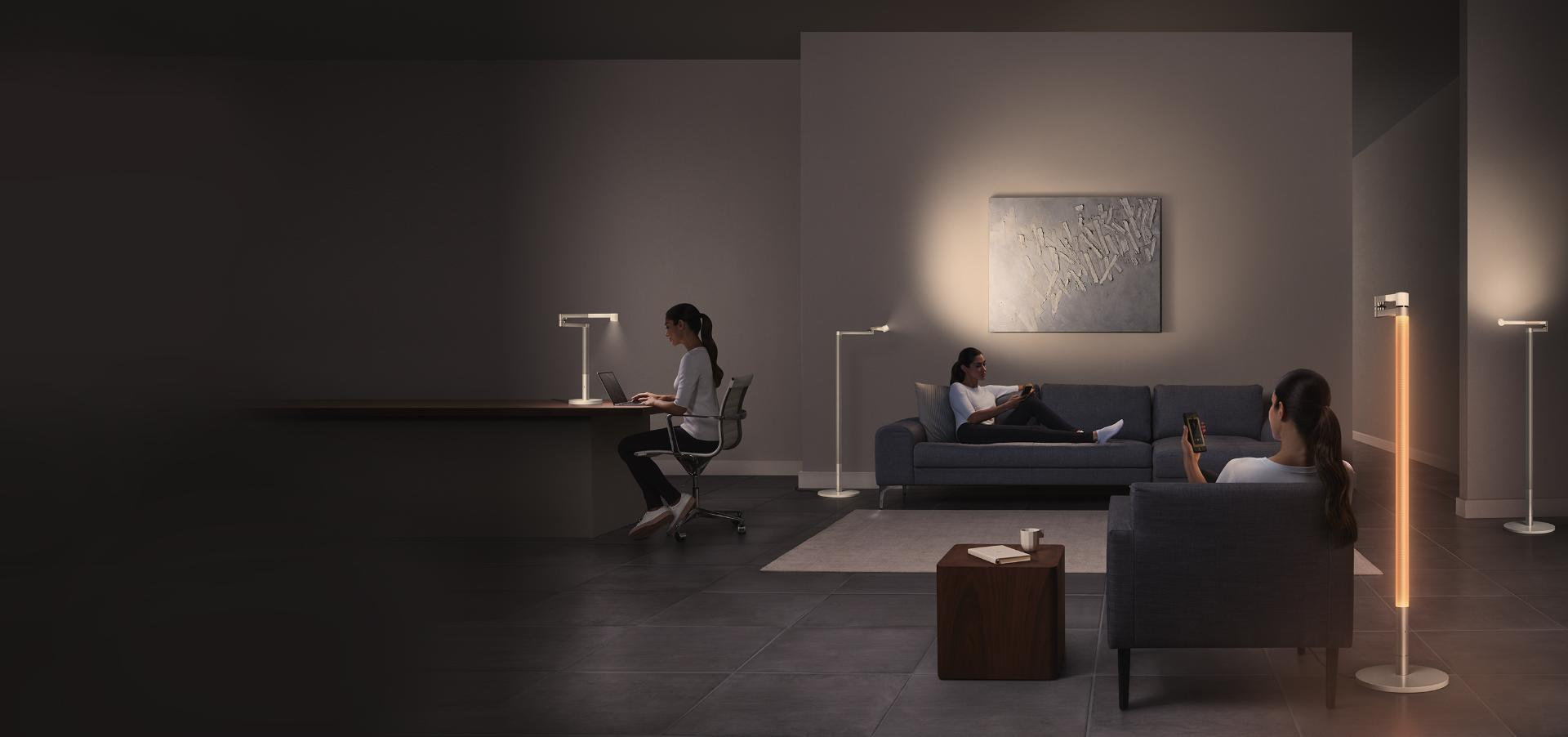 Home beautifully lit by Dyson Lightcycle Morph light