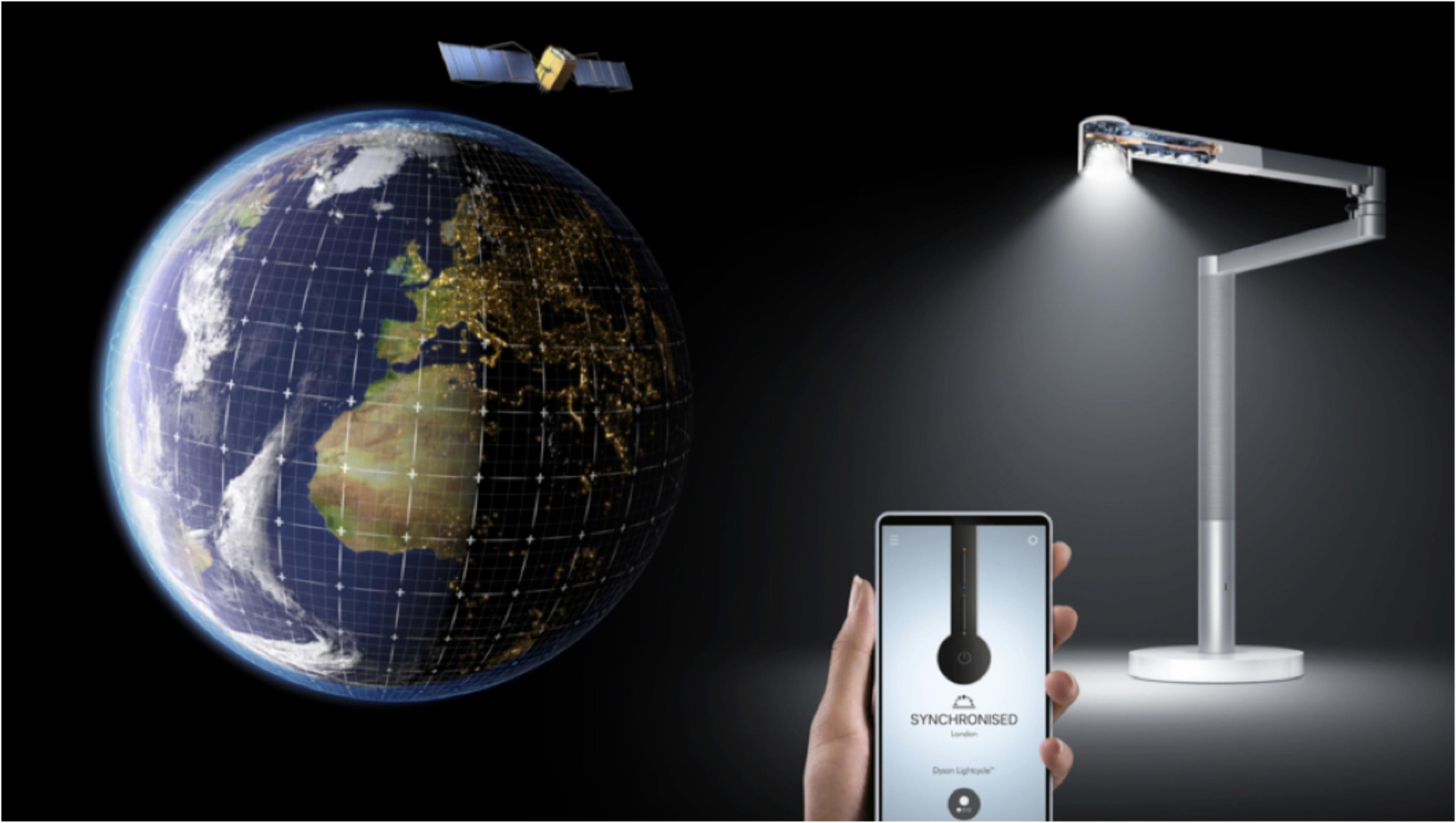 ตำแหน่งบนโลกใช้สำหรับอัลกอริทึมติดตามแสงธรรมชาติในแอป Dyson Link