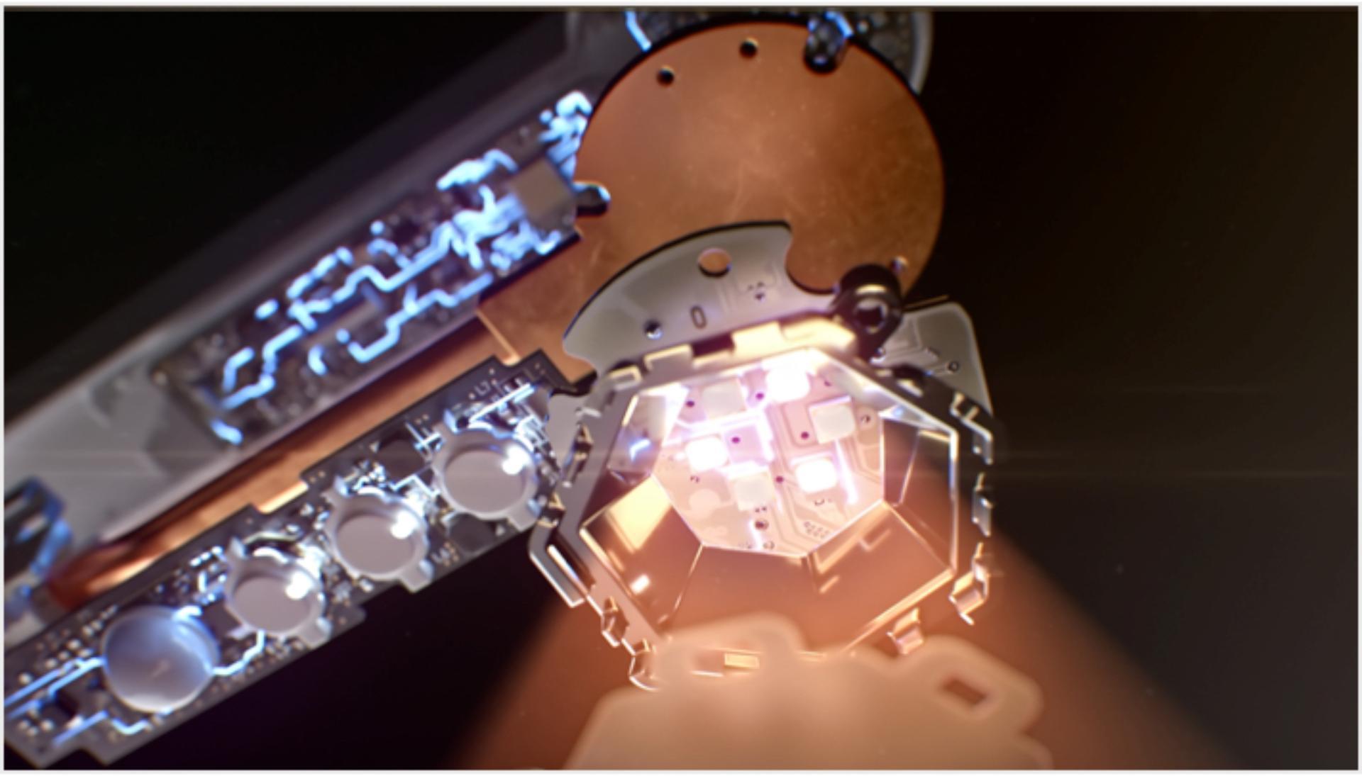 지능형 광학 헤드 내부 센서 시스템의 근접 촬영 사진