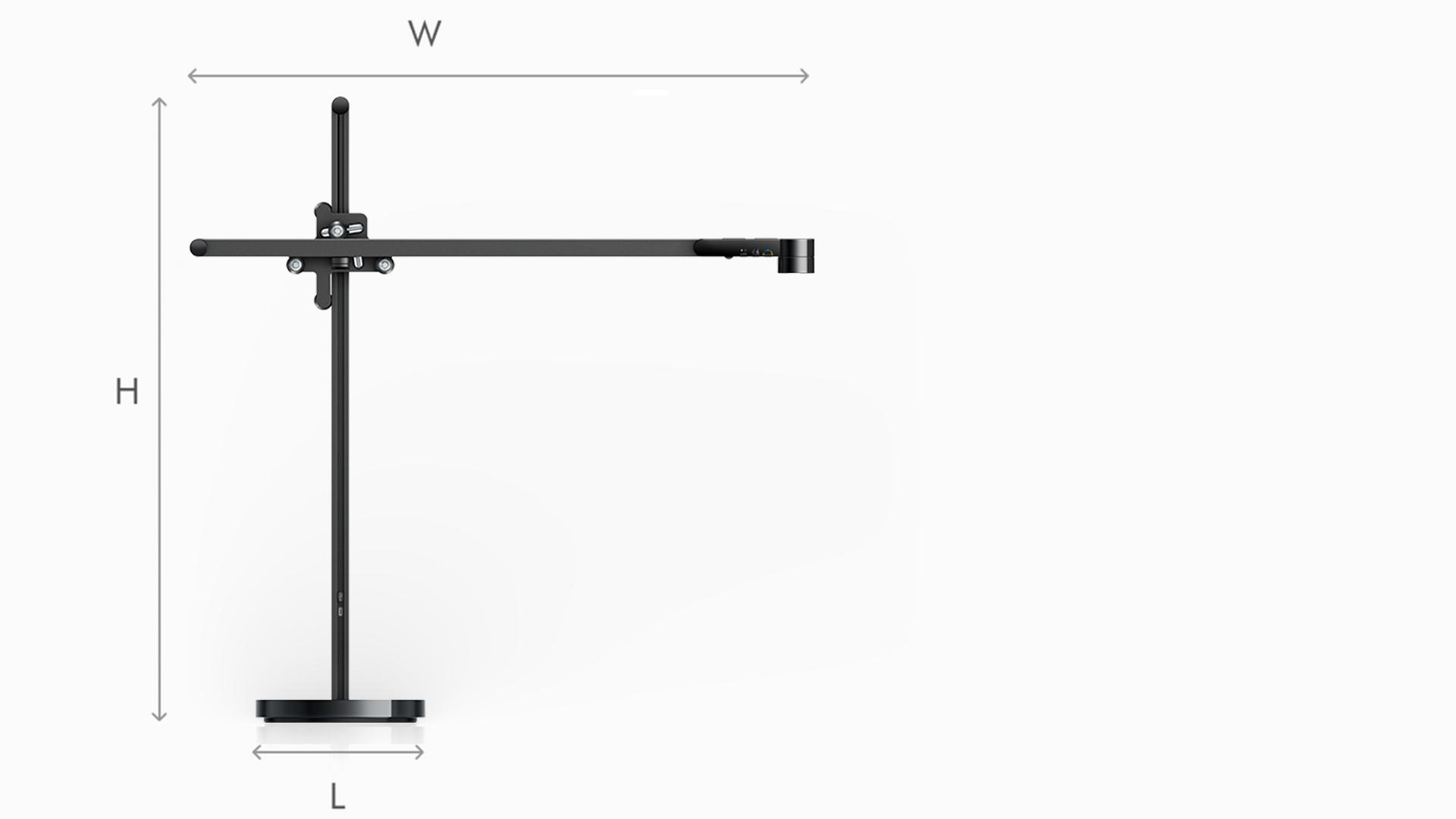 Illustration of Dyson Lightcycle black task light dimensions