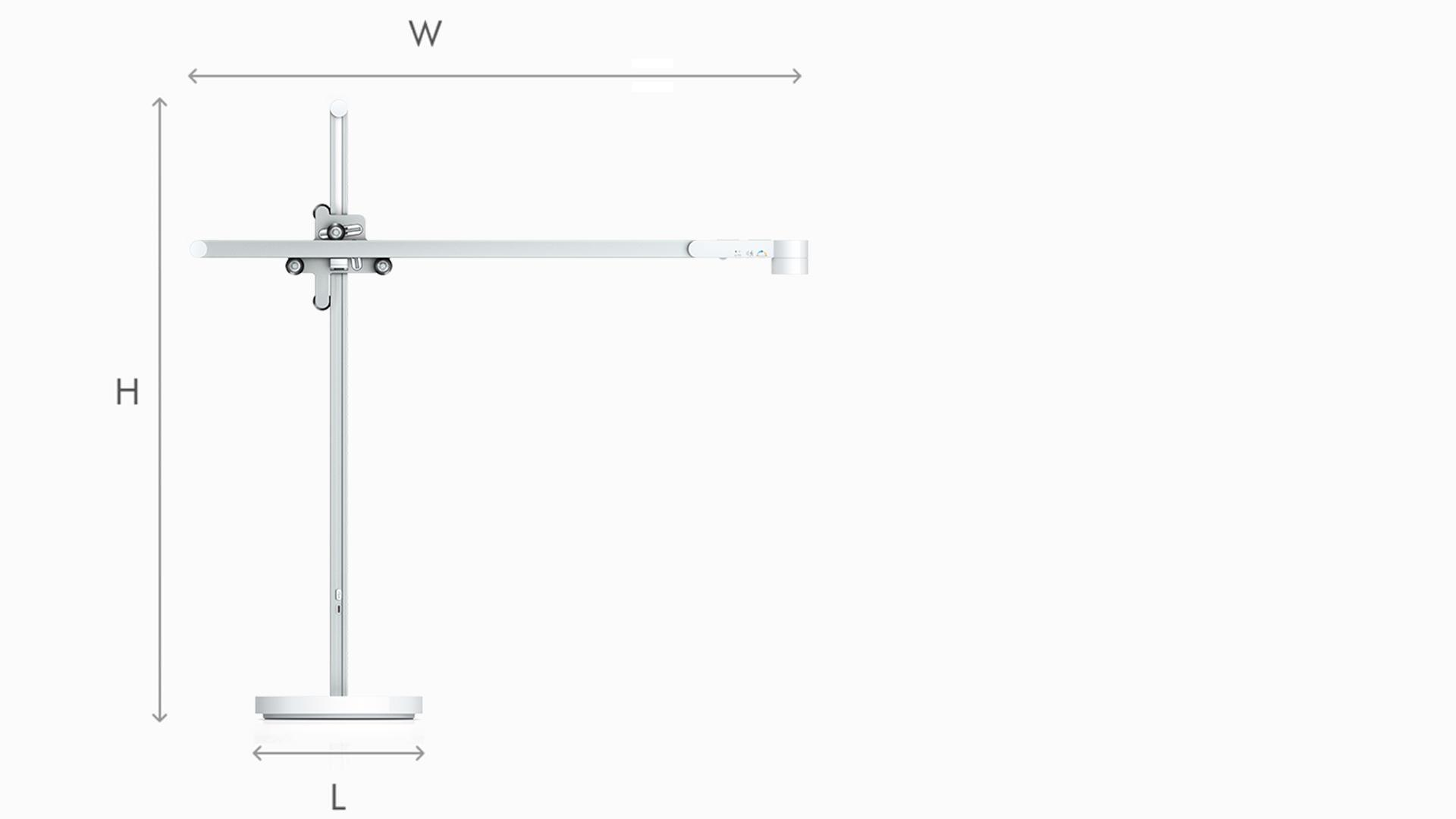 Illustration of Dyson Lightcycle white task light dimensions