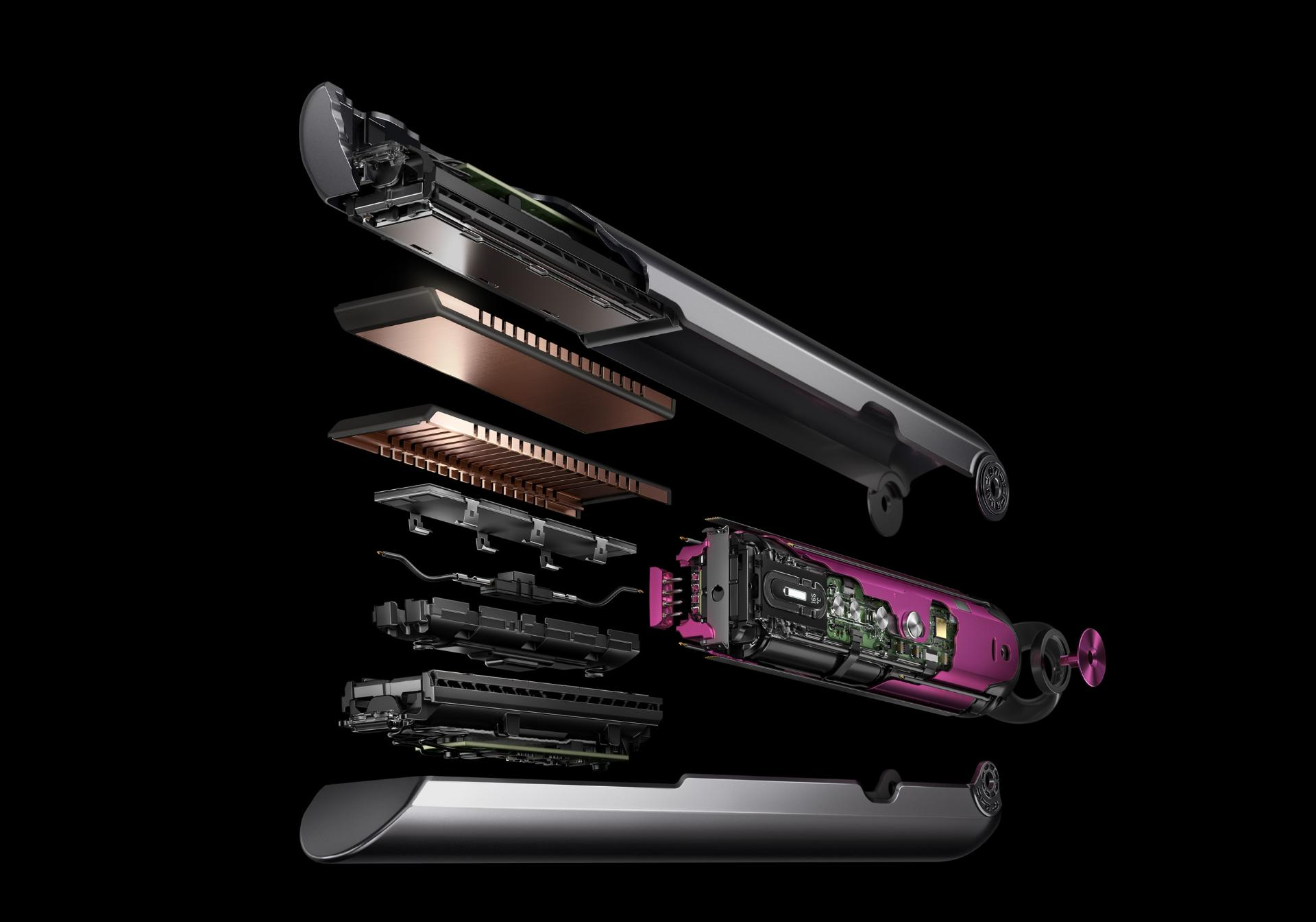 Image of the Dyson Corrale™ straightener opening up with all of its technology inside
