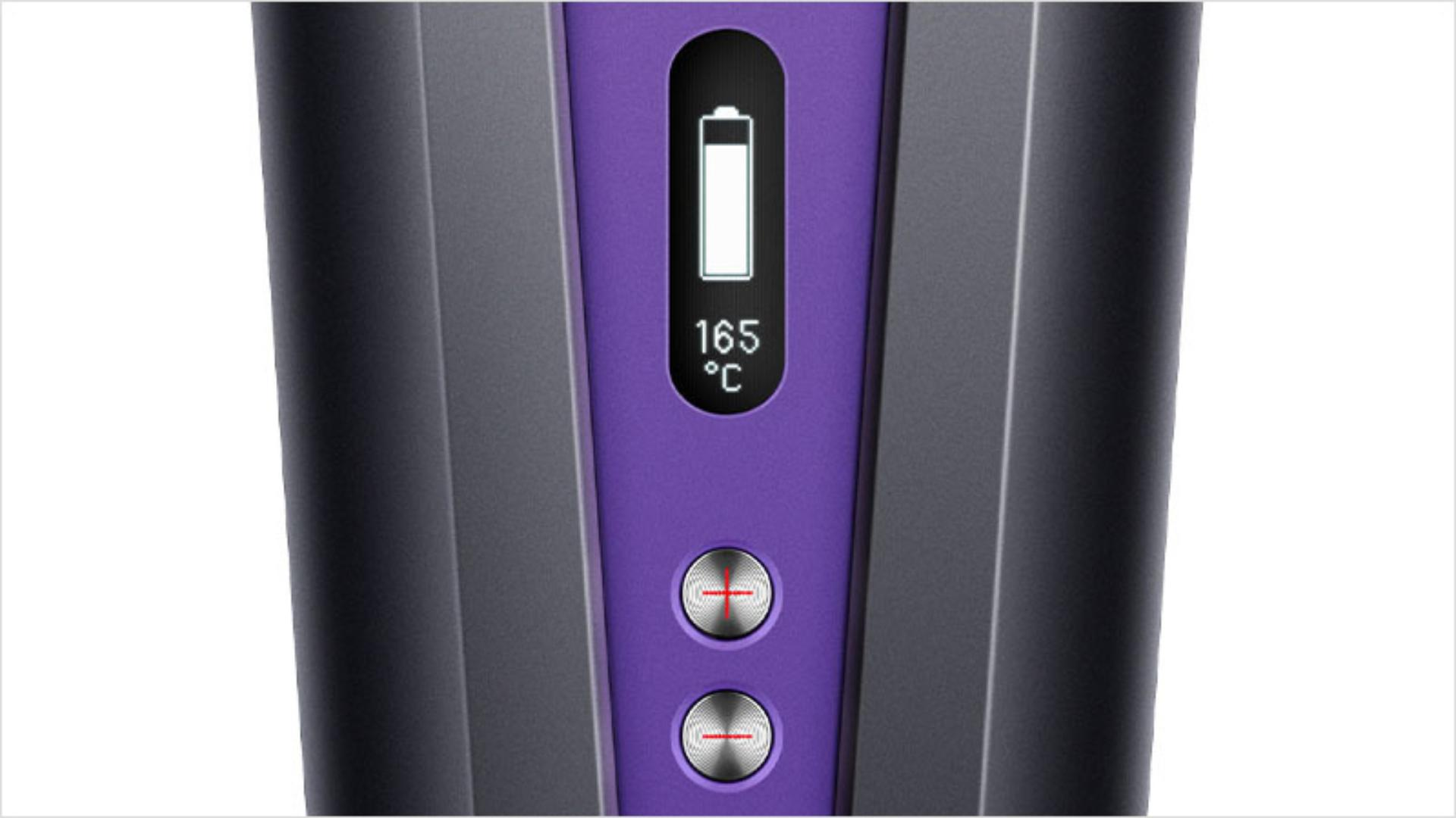 Close up of the OLED screen on the Dyson Corrale hair straightener