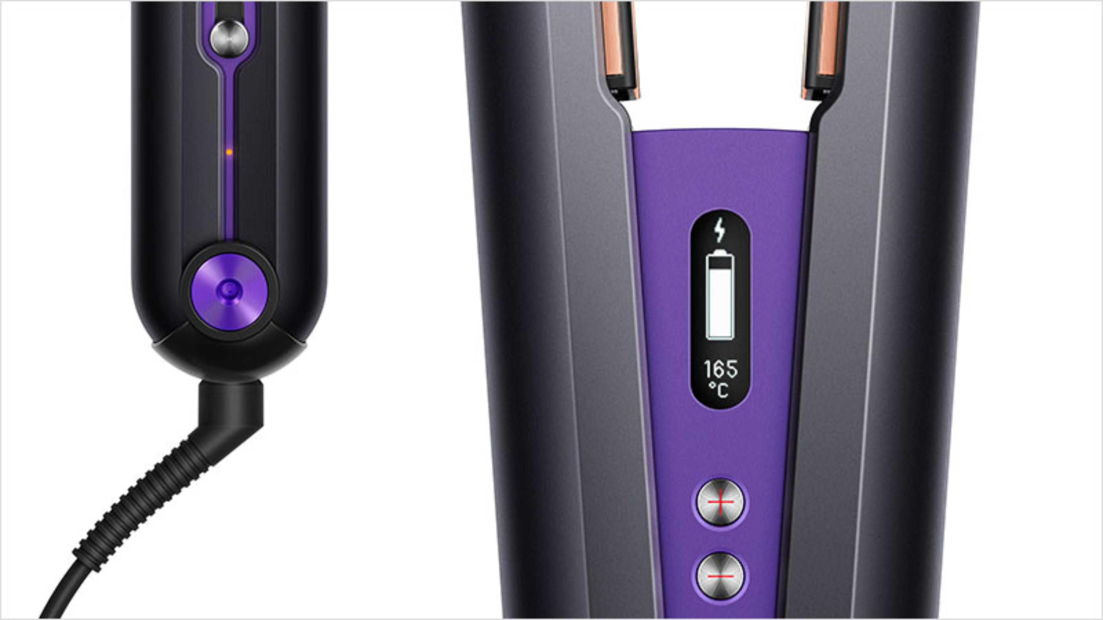 Close up of the charging socket and battery charge display on the Dyson Corrale hair straightener