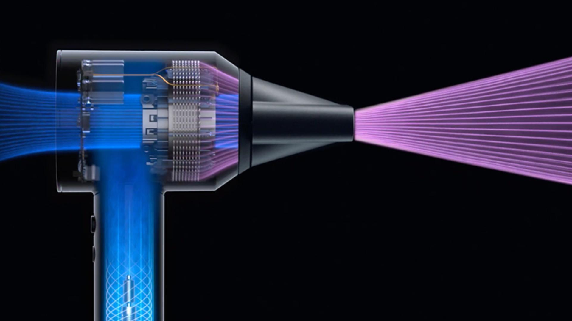 X-ray of inner workings of the Dyson Supersonic hair dryer with airflow illustrated