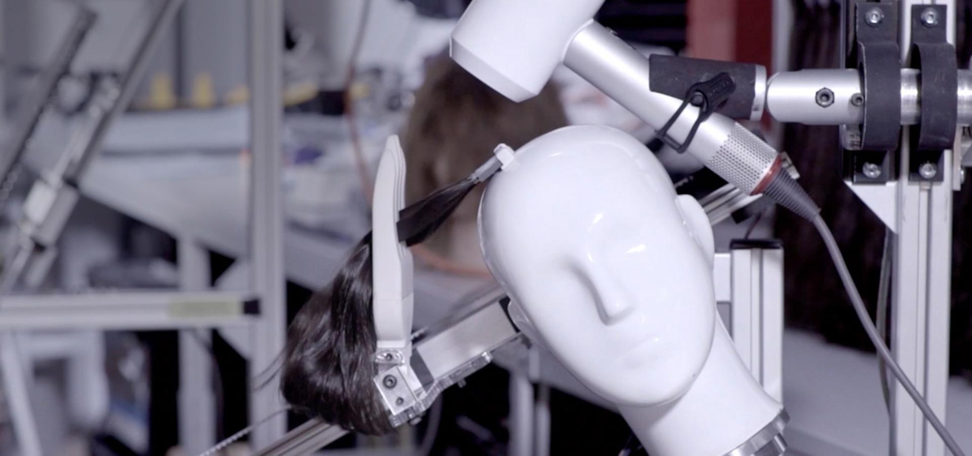 Mannequin head being tested on with the Dyson supersonic hairdryer.