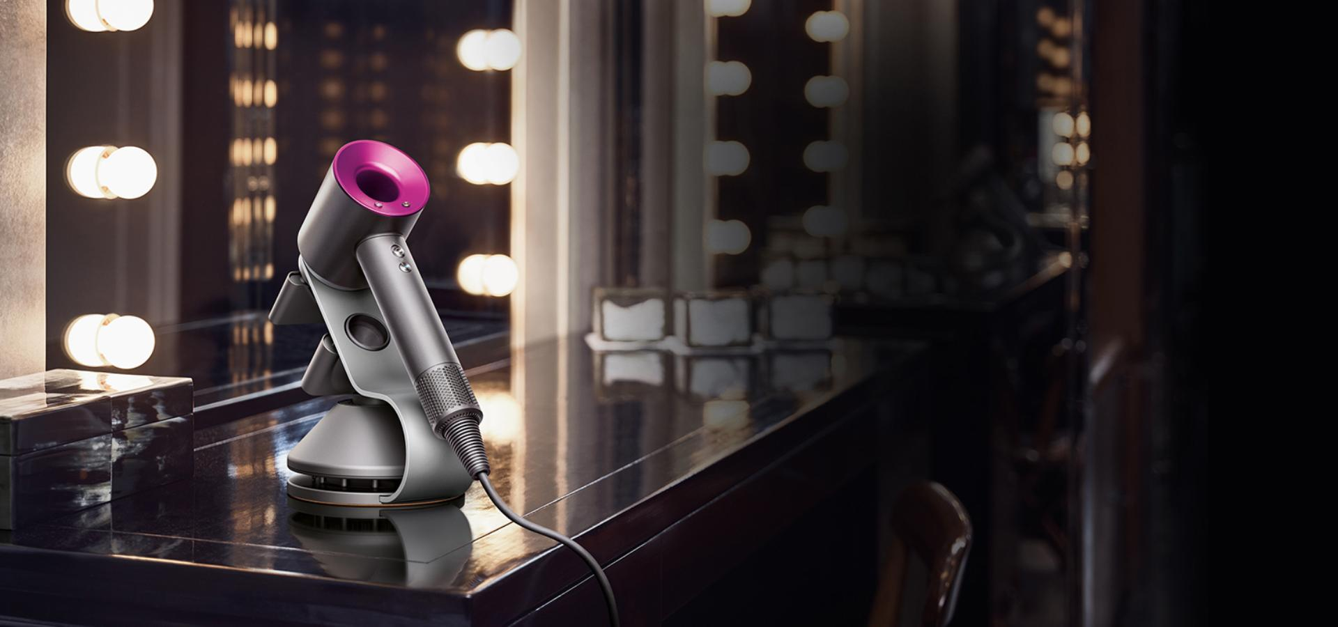 Dyson supersonic on stand in hotel room