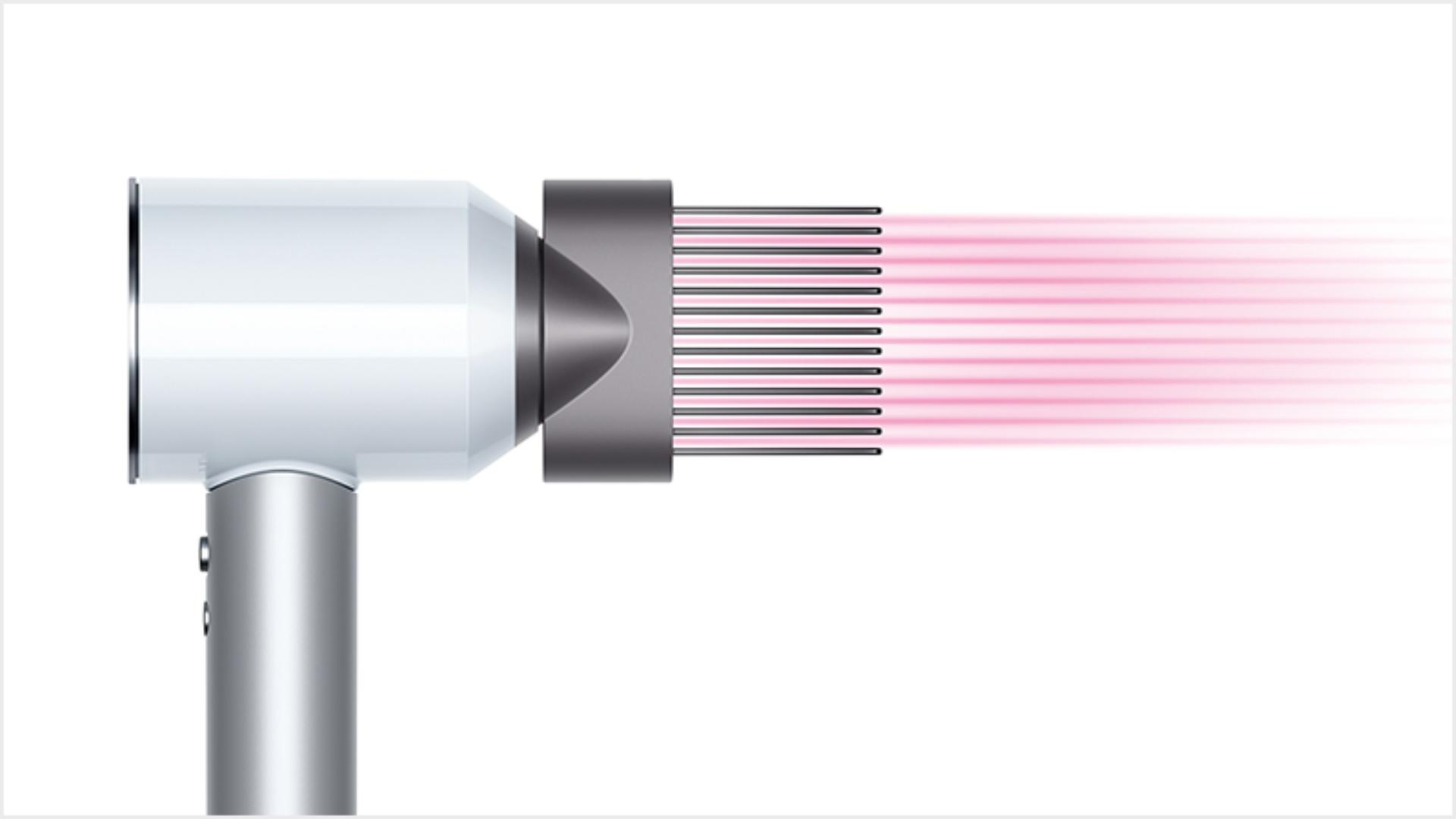 Dyson Supersonic™ hair dryer White/Silver with Wide tooth comb attachment
