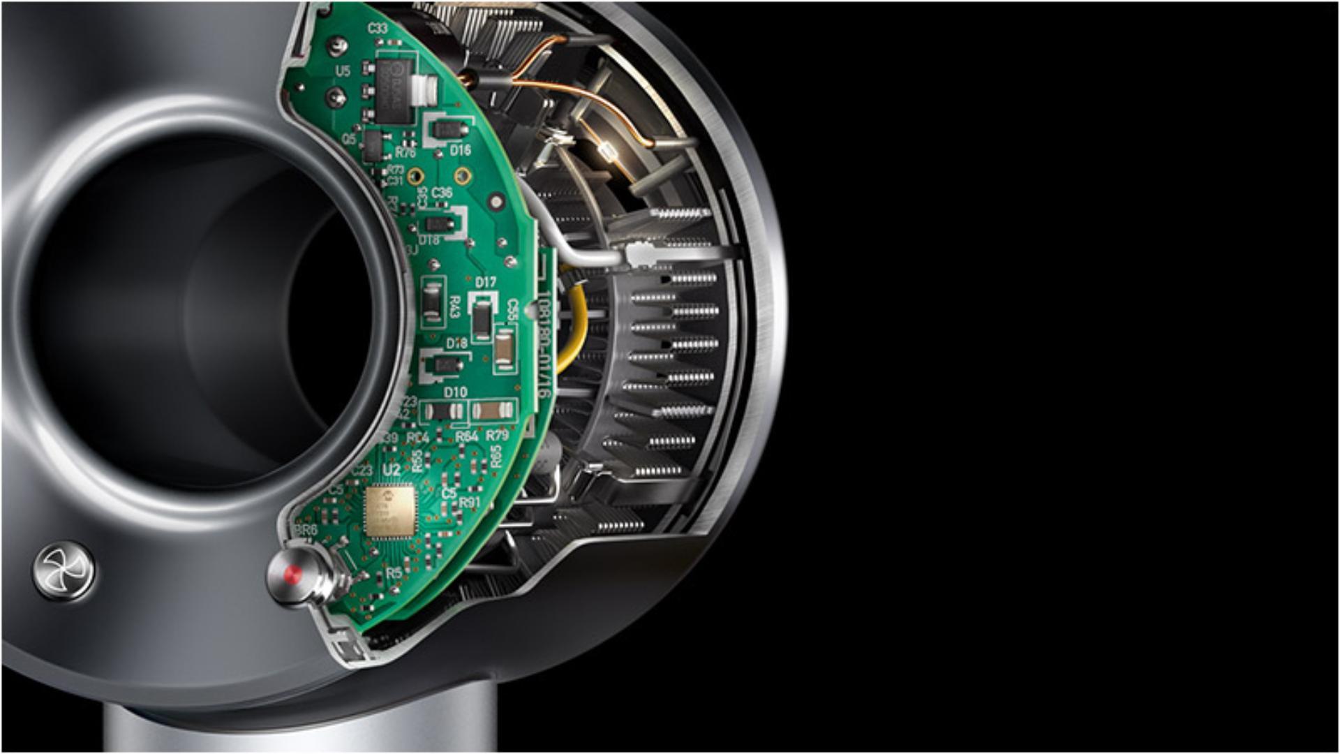 Dyson SupersonicTM saç kurutma makinesinin iç kesiti