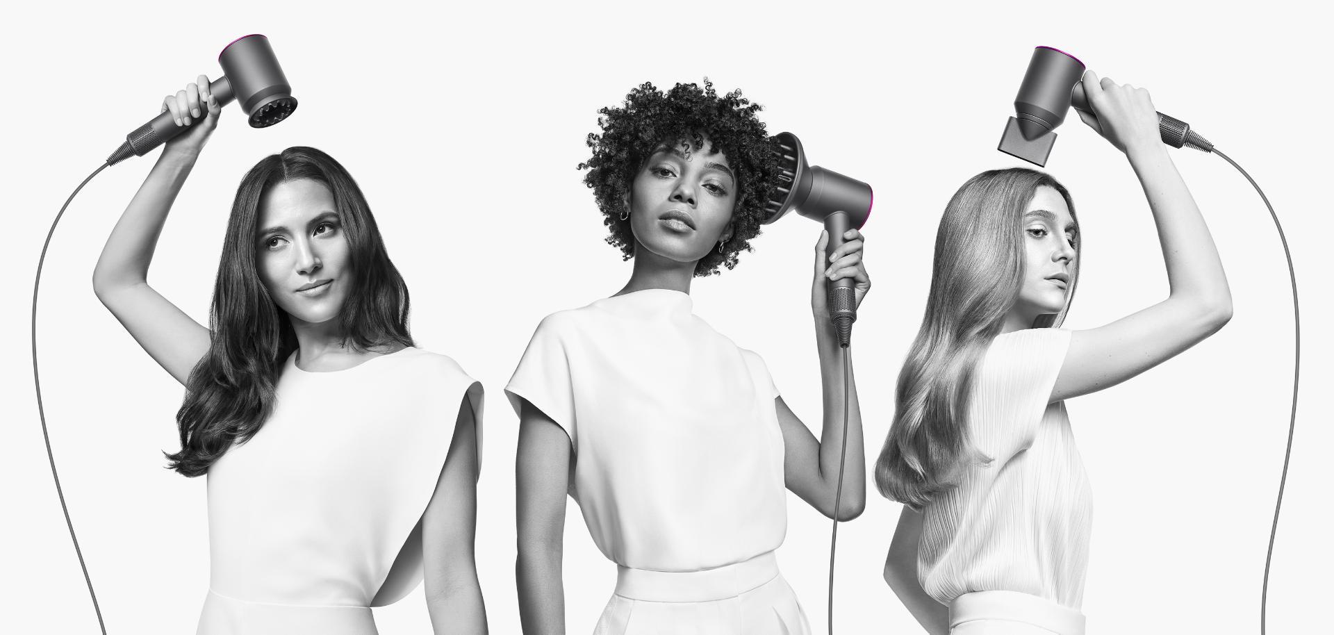 Tres modelos con distintos tipos de cabello utilizando distintos accesorios para peinar su cabello.