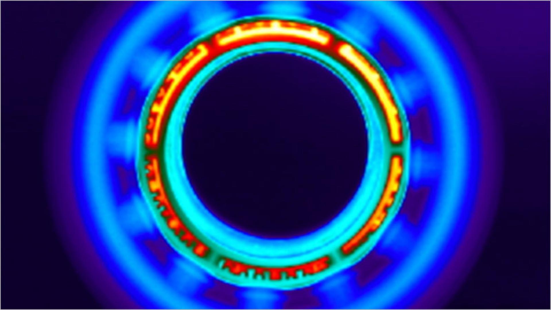 Imagen térmica del flujo de aire más frío del accesorio de aire suave.