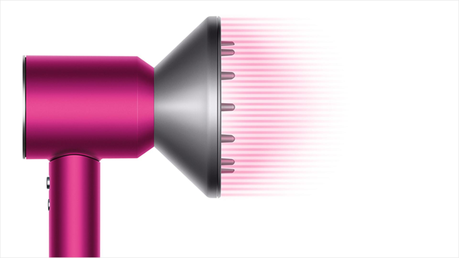 Dyson Supersonic™ hair dryer Iron/Fuchsia with re-engineered Diffuser attached