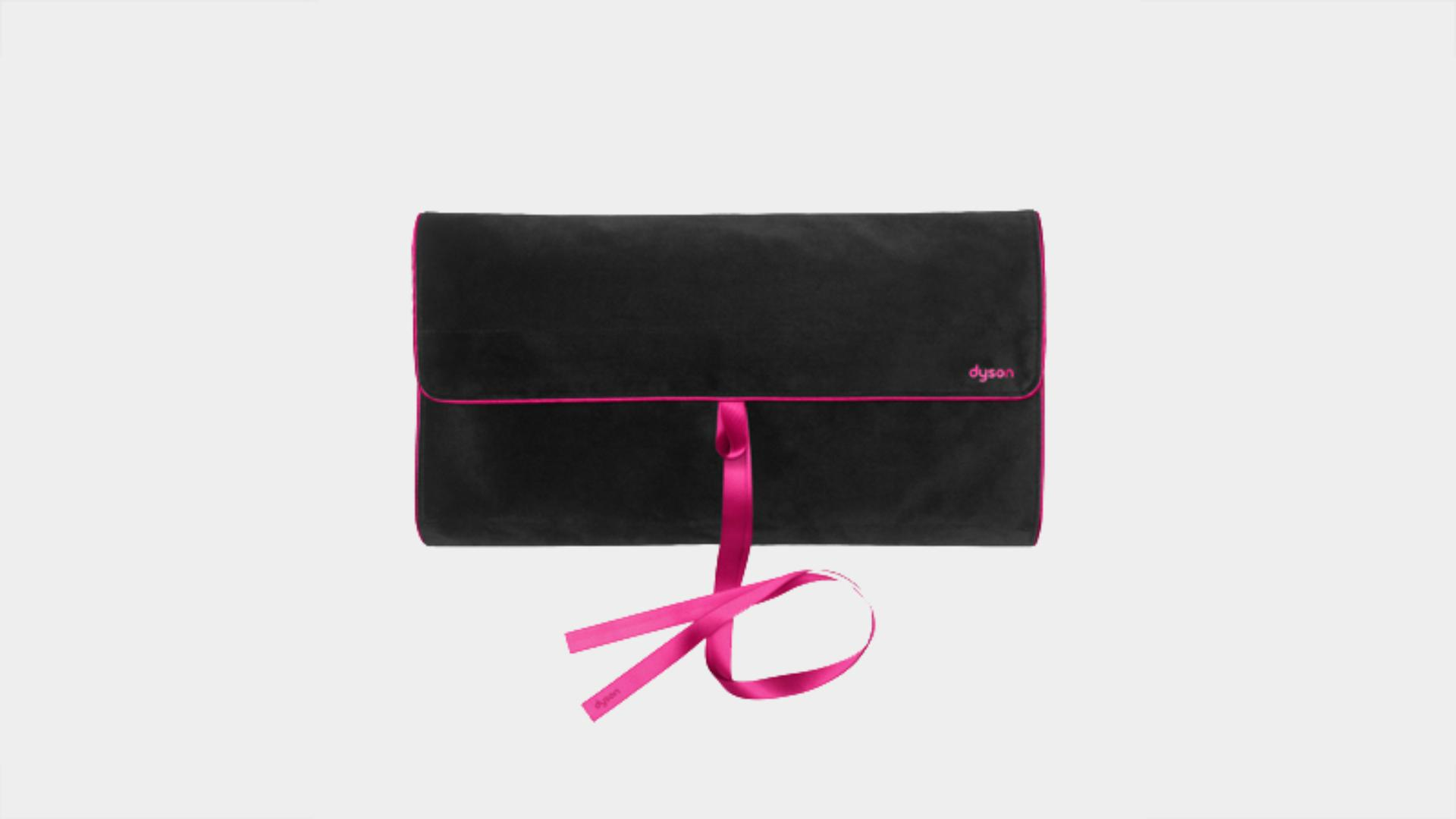 Black and fuchsia travel pouch