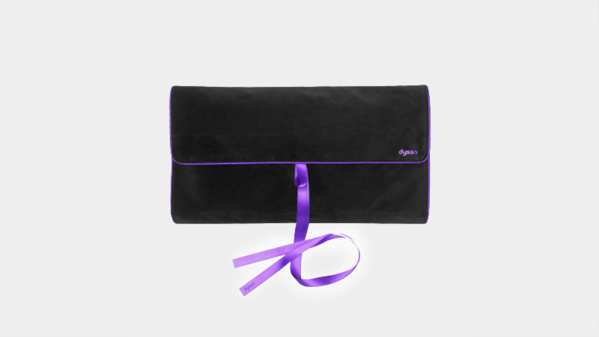 Black and purple travel pouch