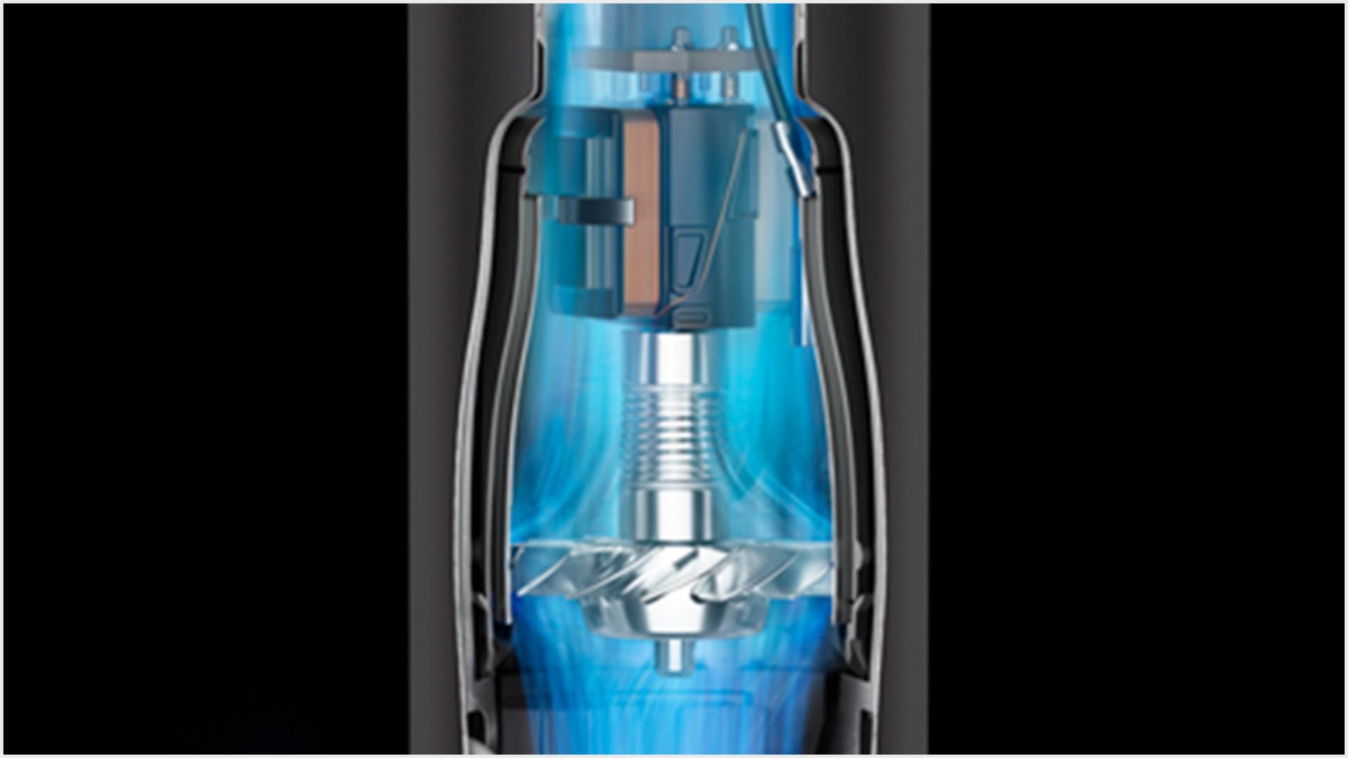 Close up animation still of the Dyson digital motor V9