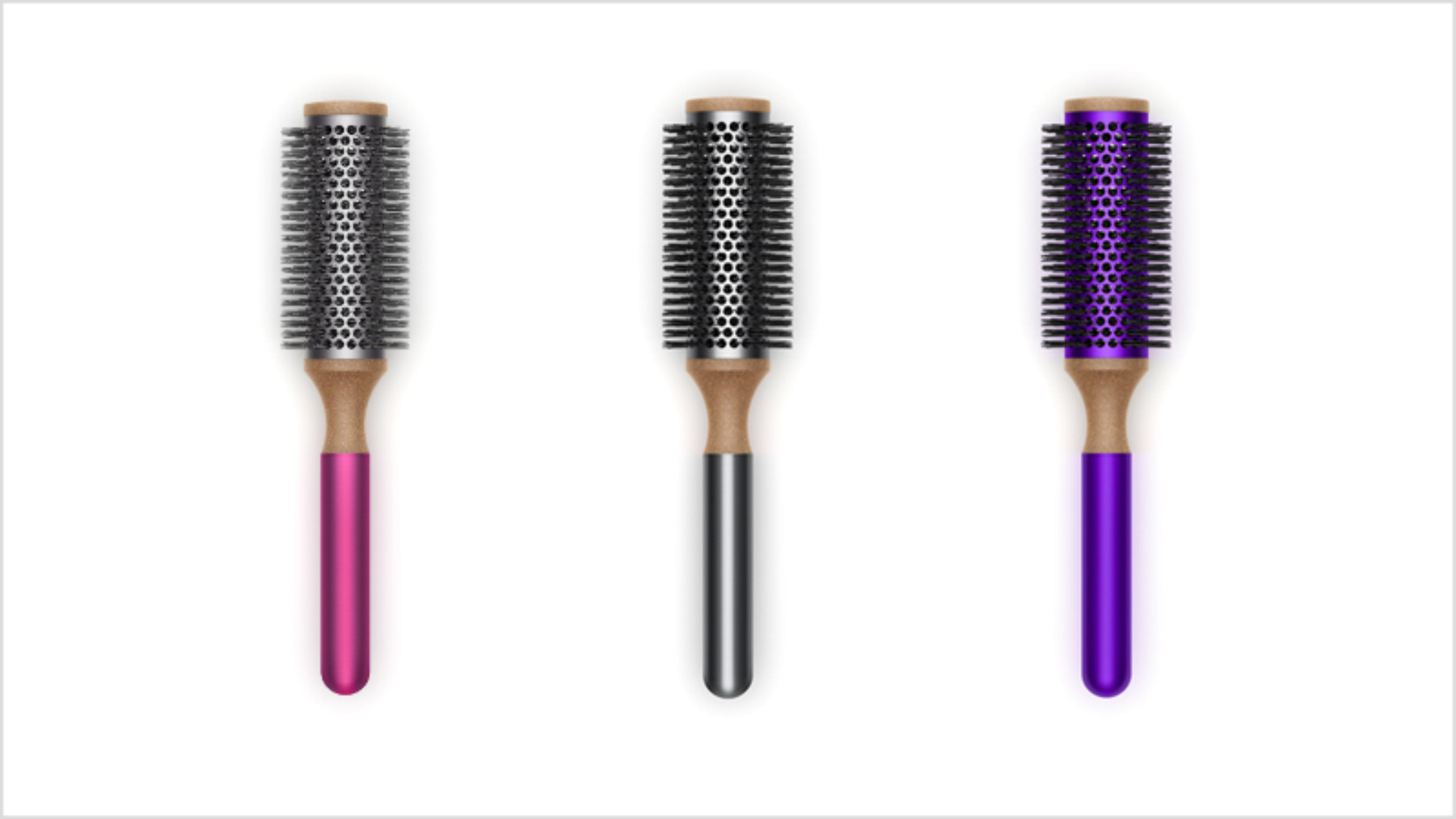 Dyson-vented barrel 35mm brush in Fuchsia, Purple and Nickel