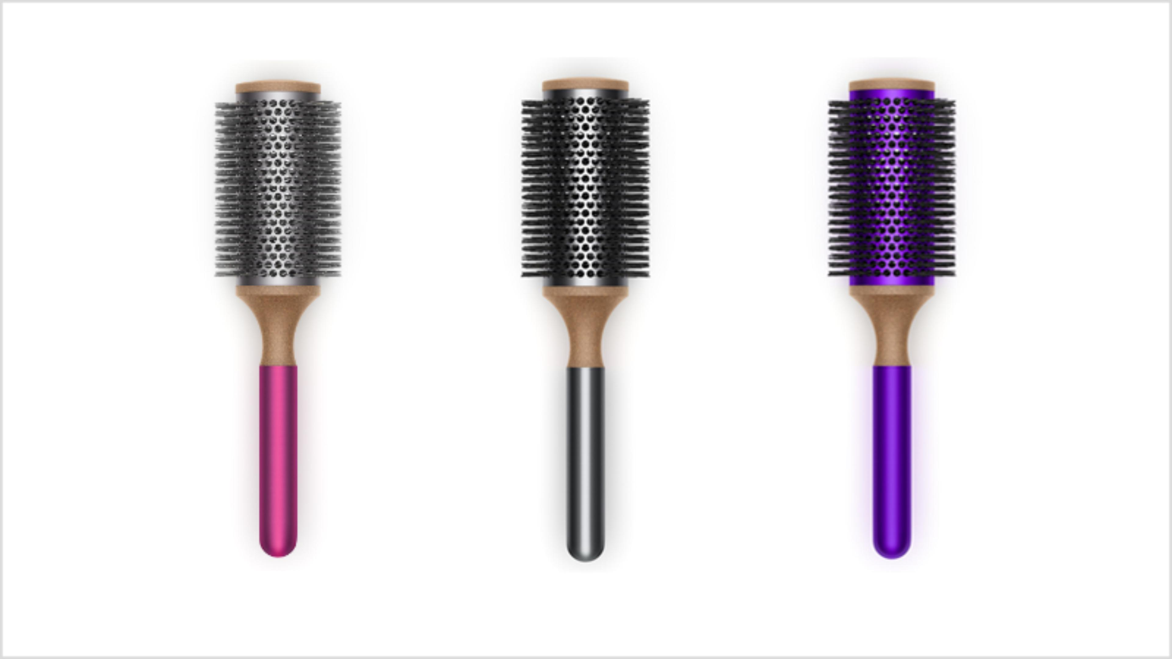 Dyson-vented barrel 45mm brush in Fuchsia, Purple and Nickel