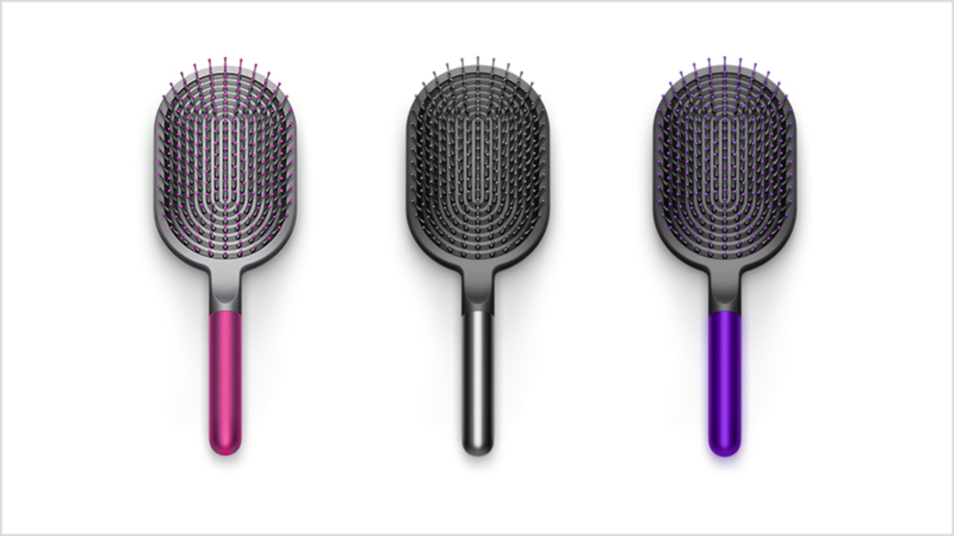 Dyson-designed Paddle brush in Fuchsia, Purple and Nickel