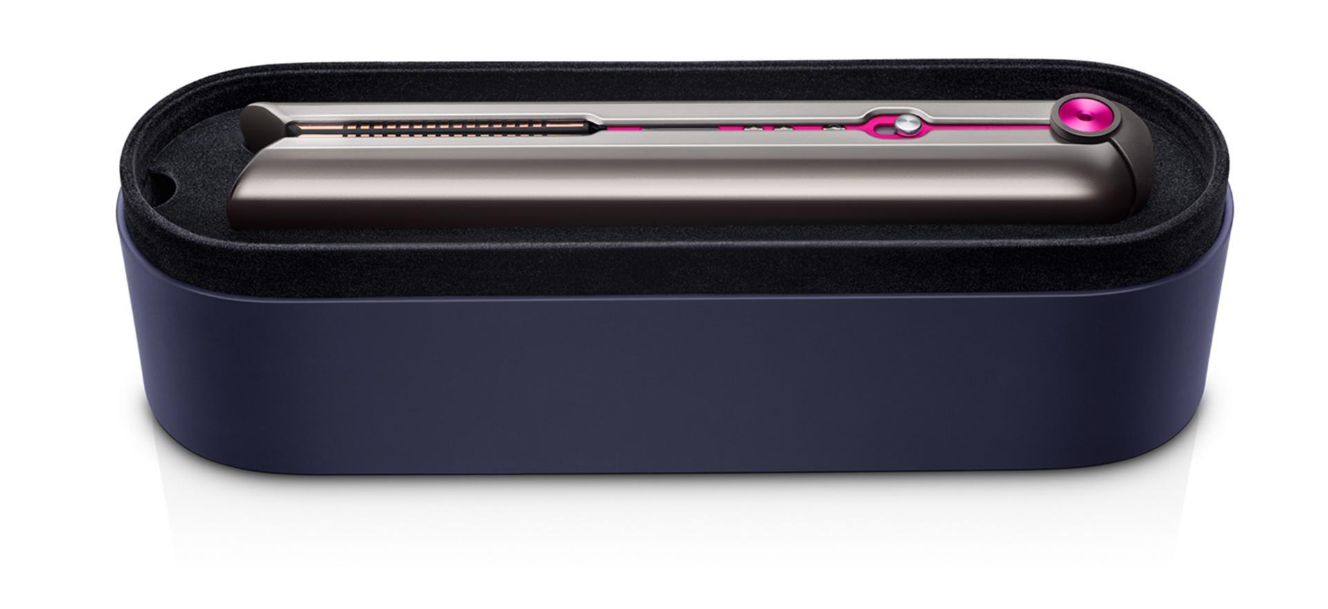 An open Dyson-designed presentation case containing the Dyson Corrale straightener