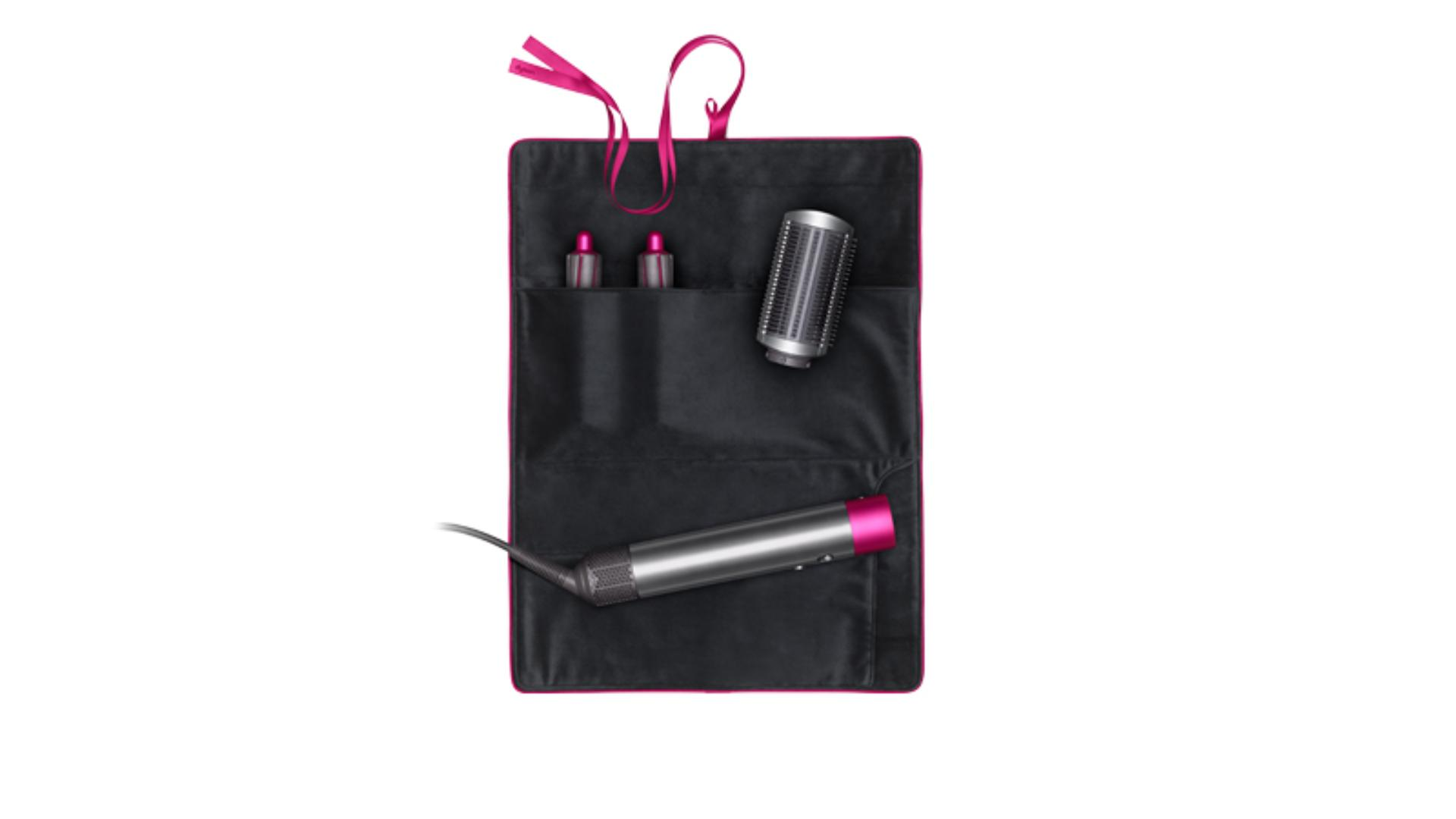Black and fuchsia Airwrap travel pouch