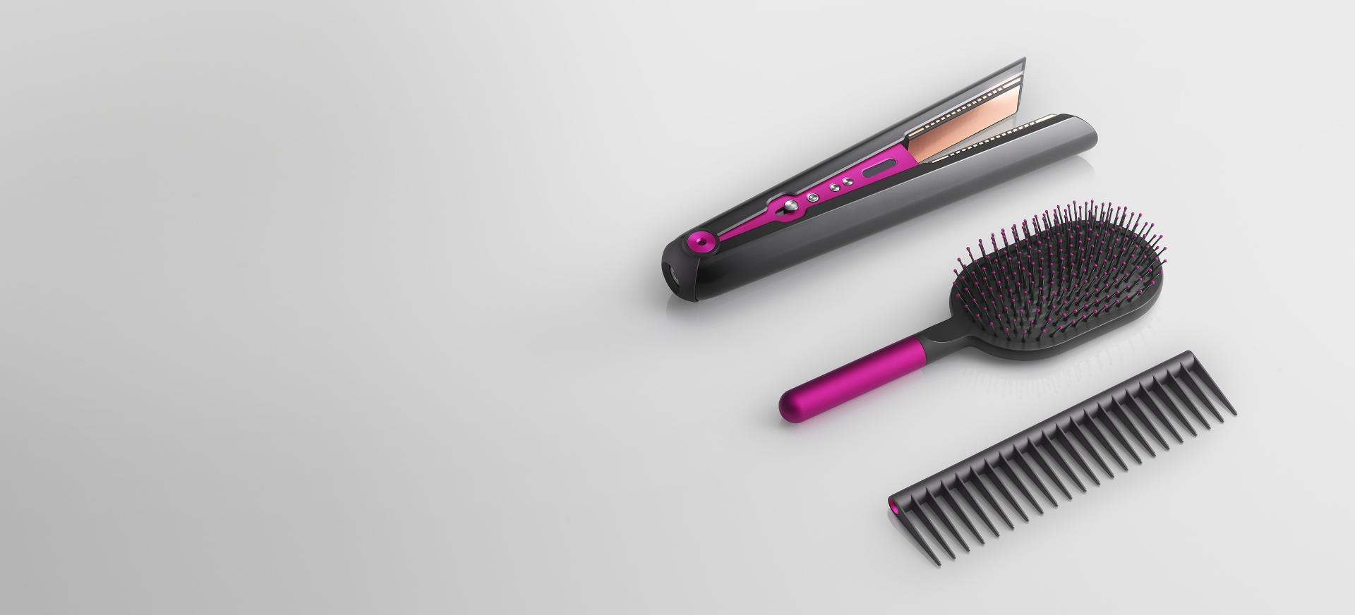 Dyson Corrale straightener with Paddle brush and Detangling comb