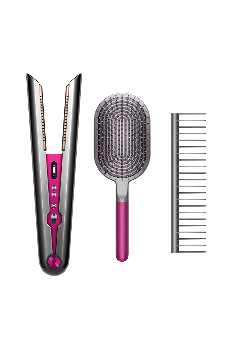 Dyson Corrale™ straightener (Black Nickel/Fuchsia) with styling set