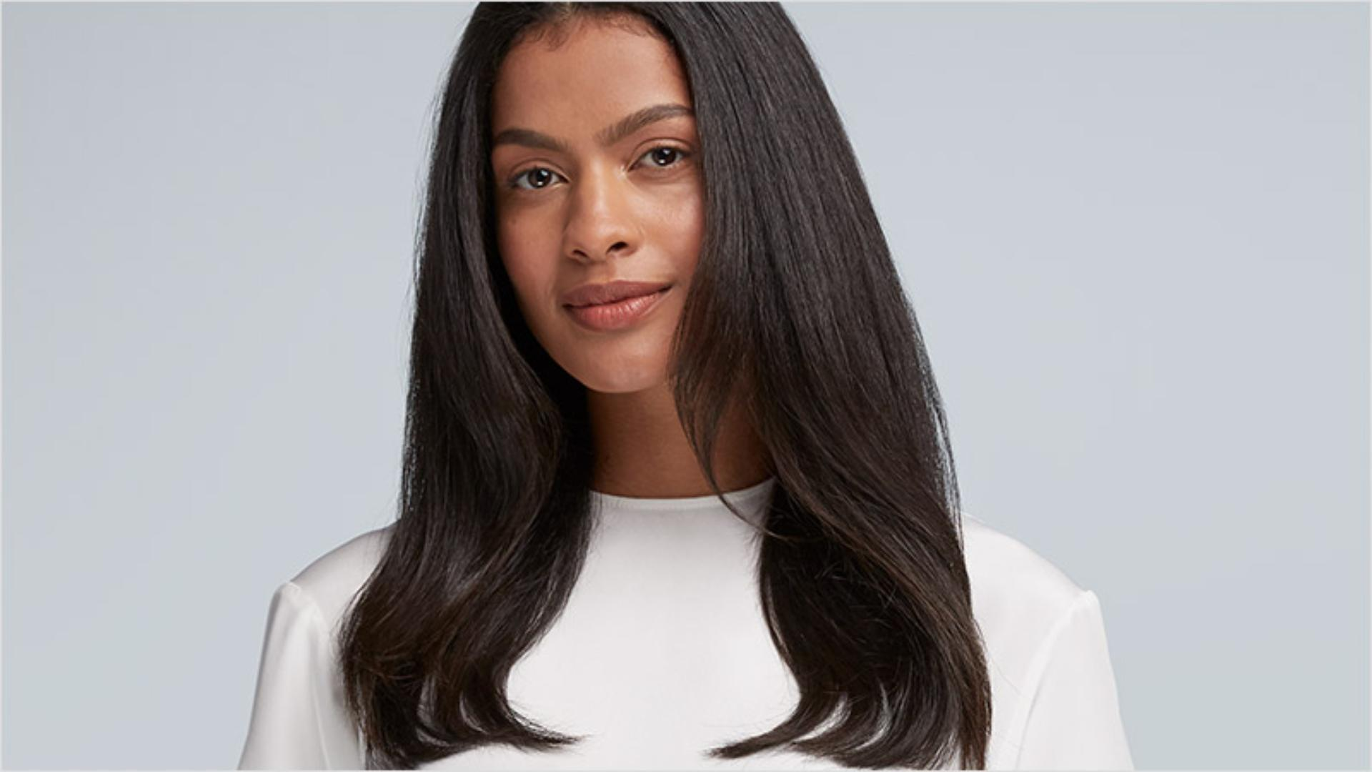 Model with smooth, straight hair