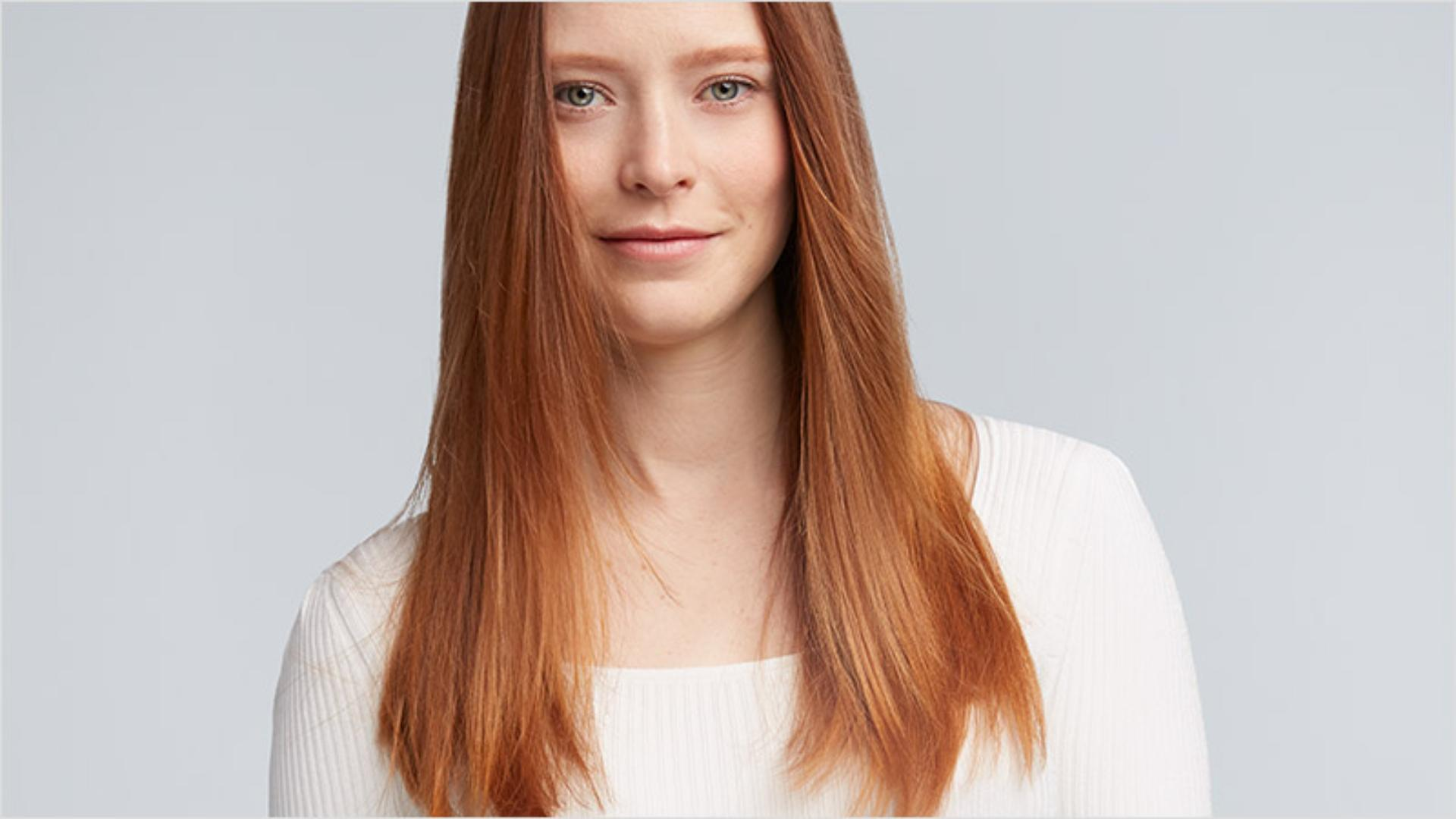 Model with silky, straight hair