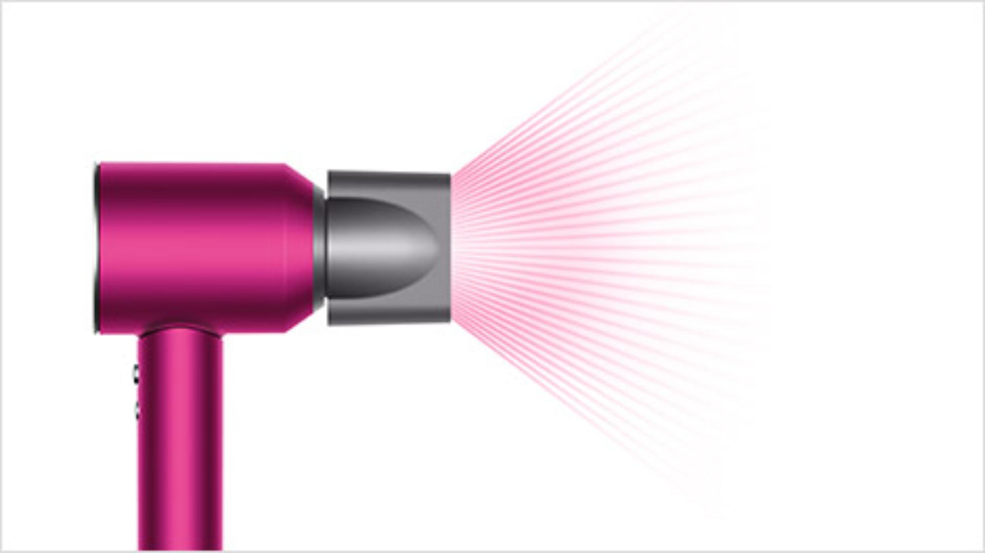 Dyson Supersonic™ hair dryer Iron/Fuchsia with Wide tooth comb attachment