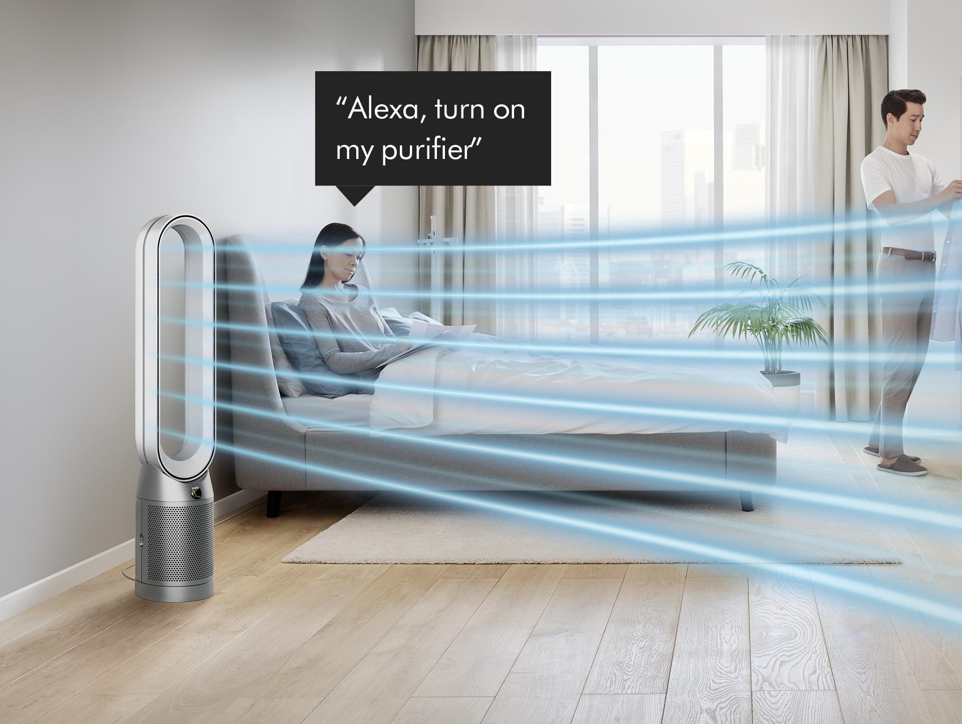 Woman asking Alexa to control her Dyson purifier