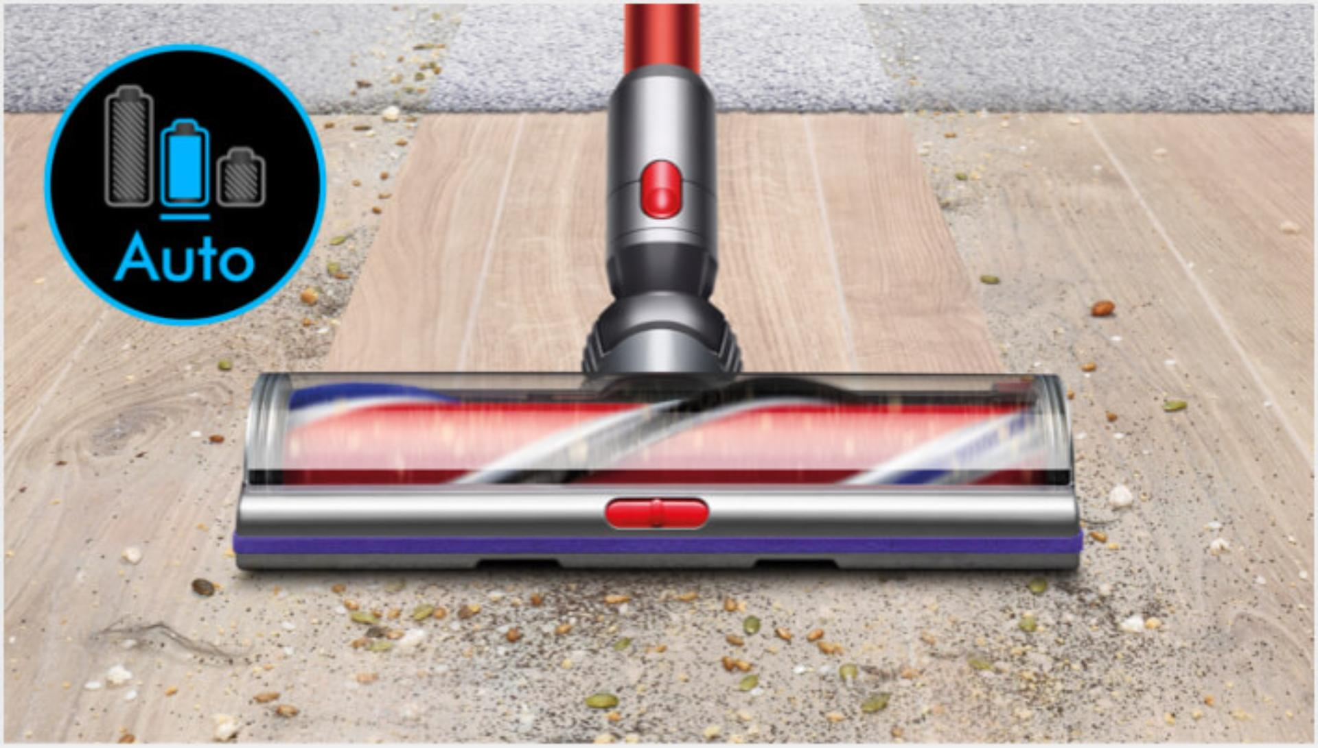 Dyson V11 vacuum being used on different floor types