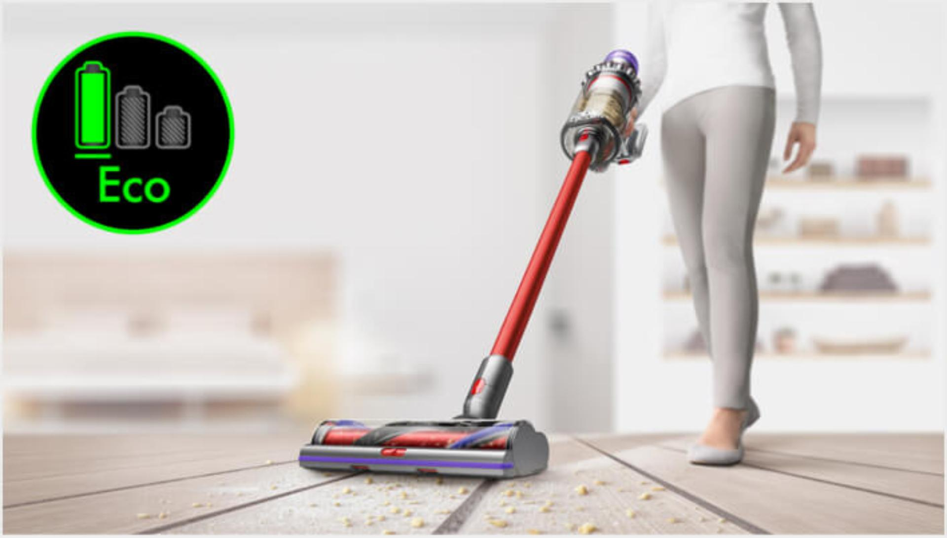 Dyson V11 vacuum in use