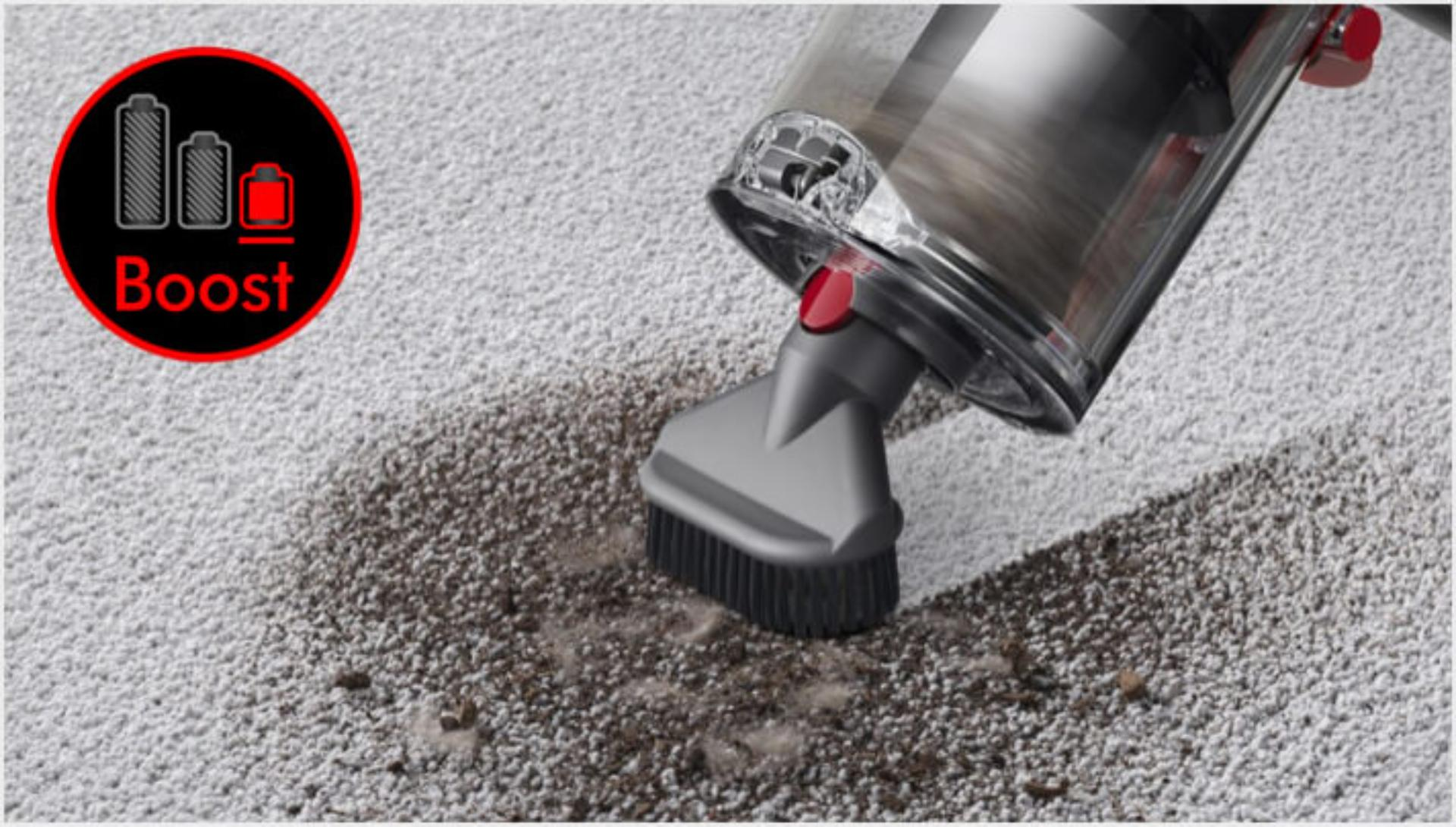 Dyson V11 vacuum cleaning ground-in dirt