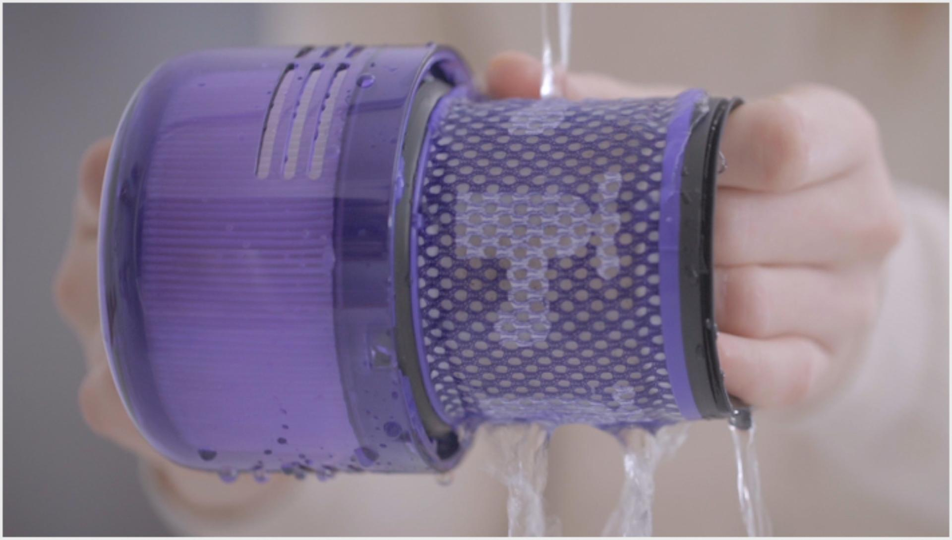 Image from video about washing the filter