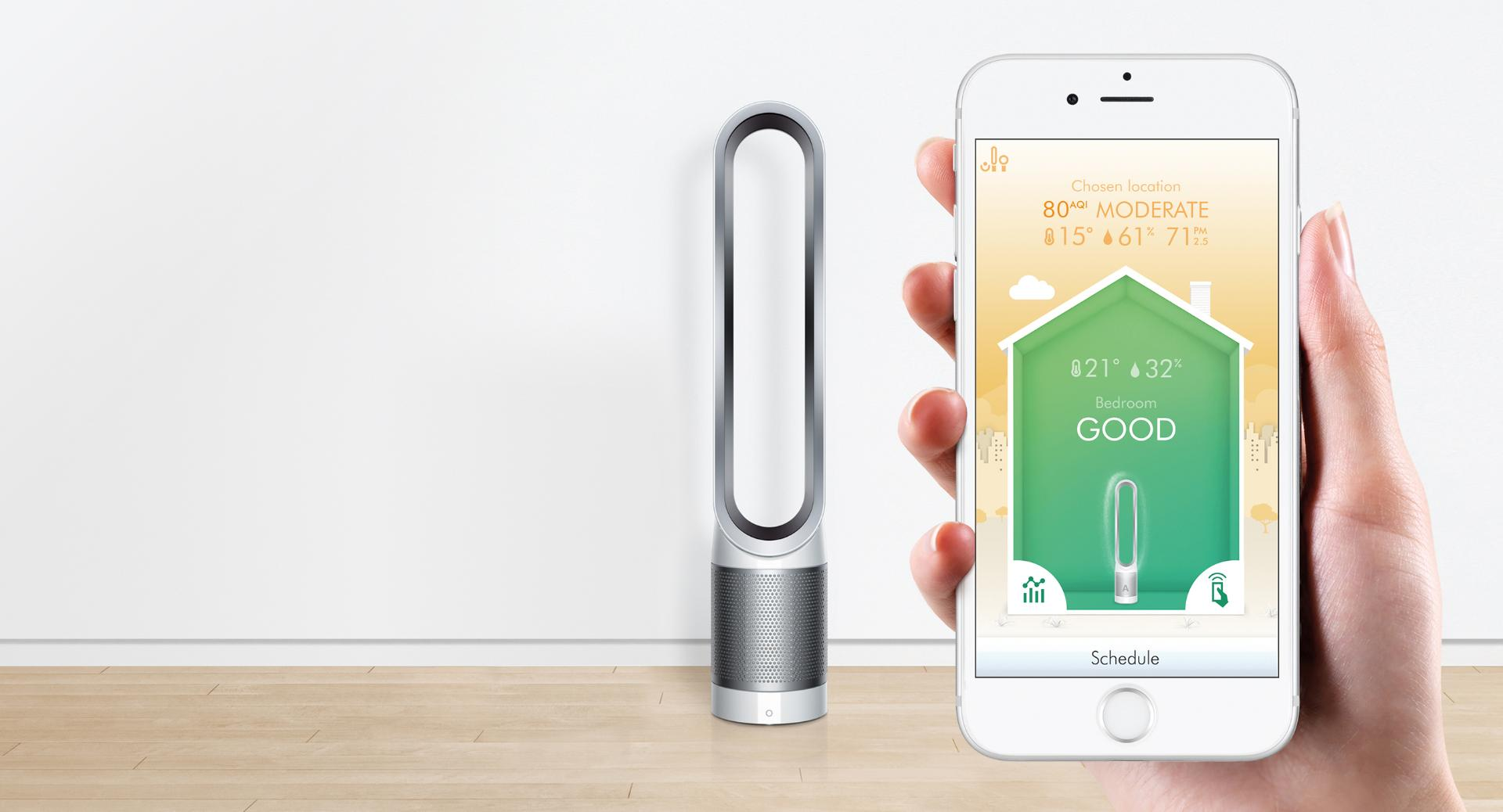 Dyson app on mobile with pure cool link next to mobile phone